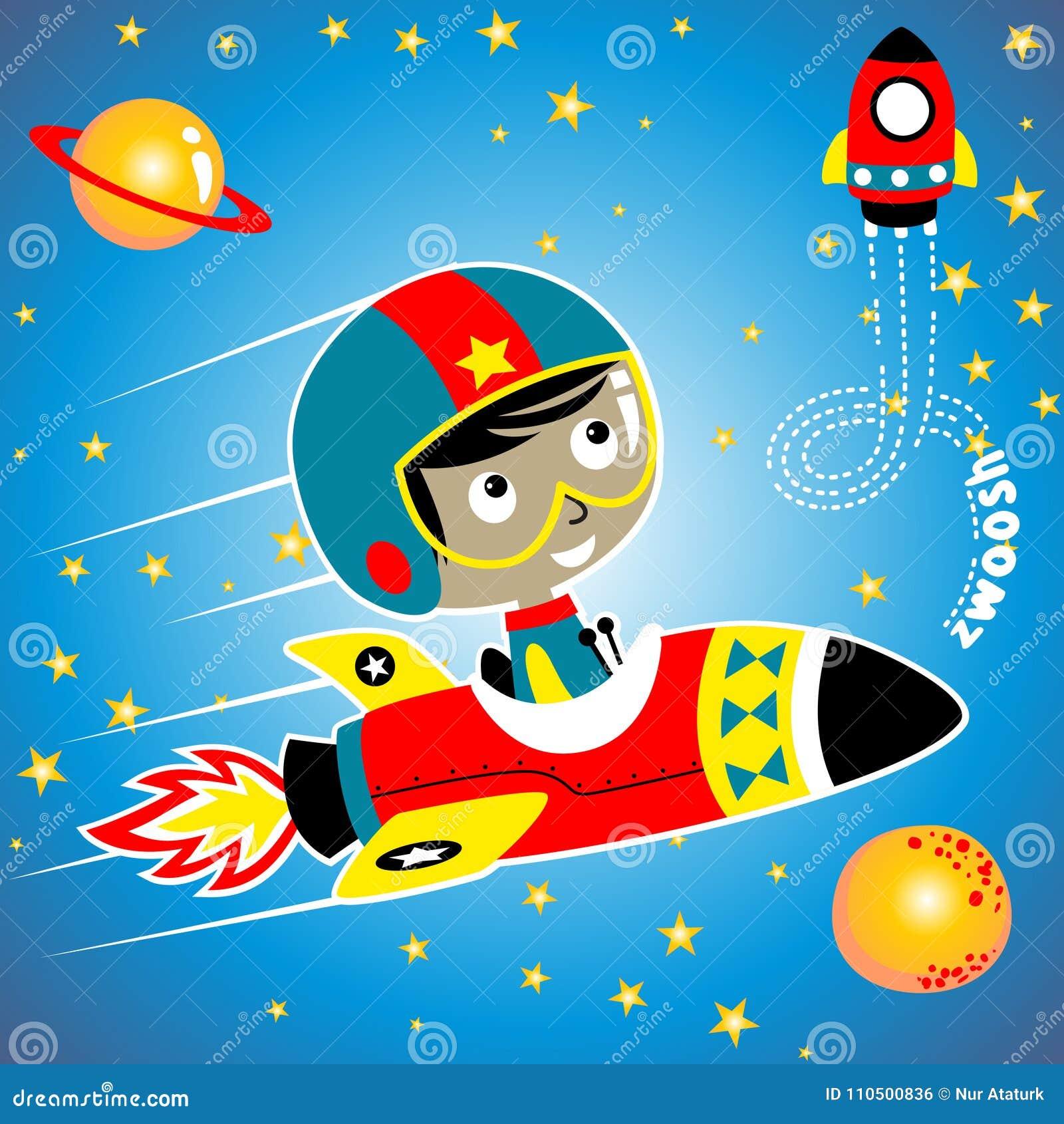 在航天器的逗人喜爱的小的宇航员动画片