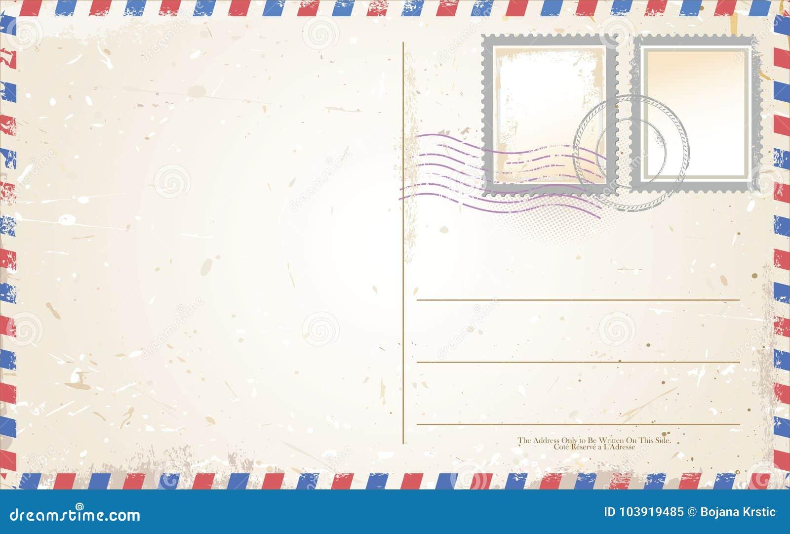 在航空邮件样式的明信片传染媒介