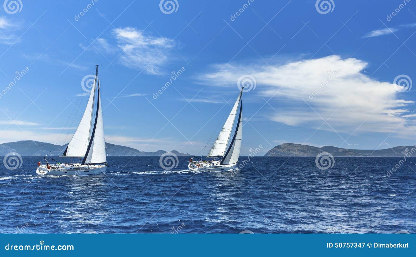 在航行赛船会的风船 航行 自然