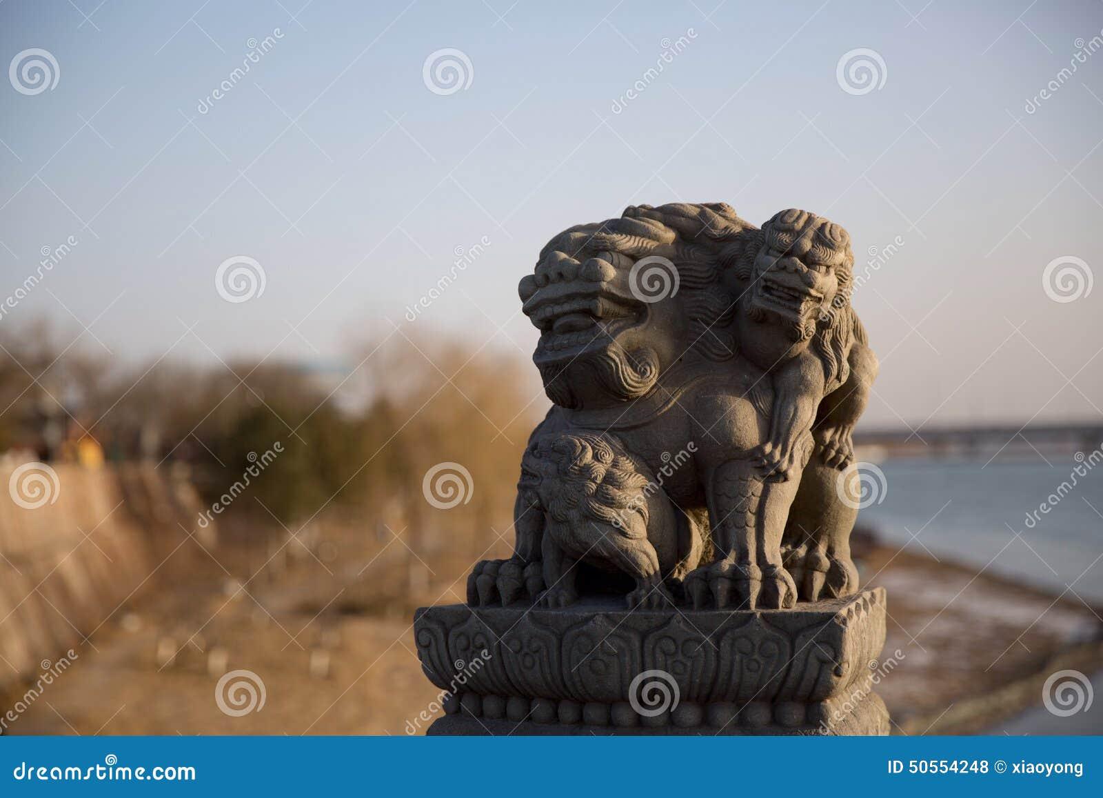 在芦沟桥的石狮子在丰台区,北京市