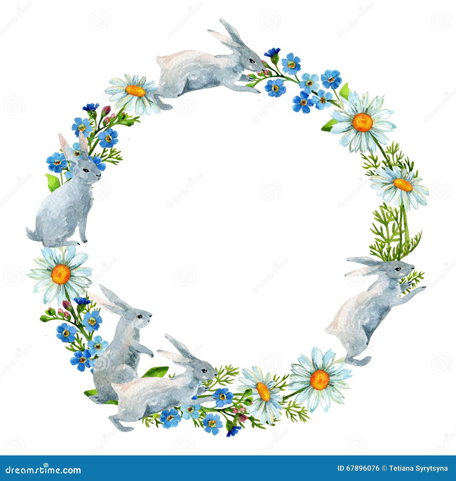 在花中的兔子 水彩卡片