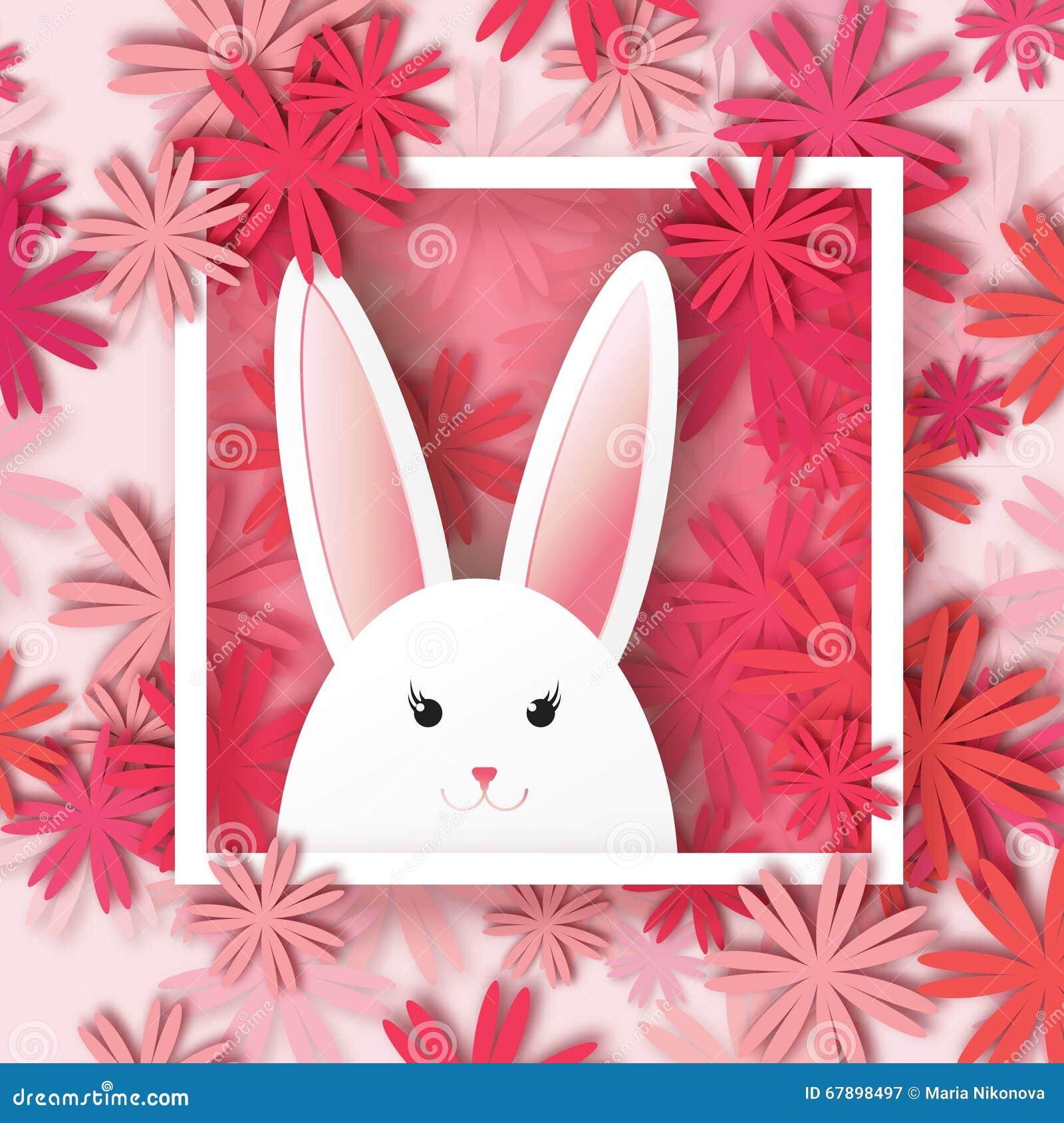 在花卉背景的白色复活节兔子