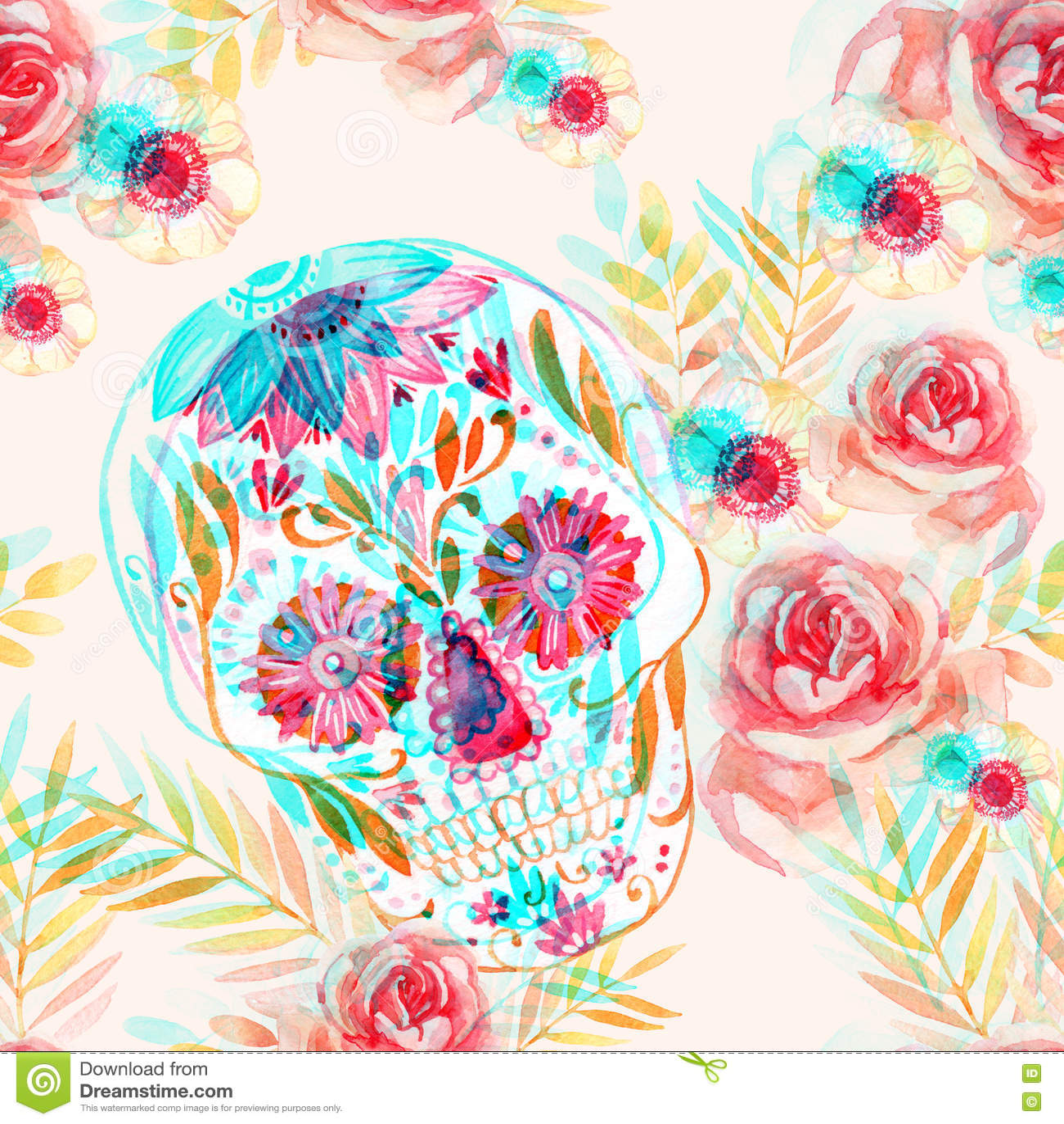 在花无缝的样式中的墨西哥糖头骨