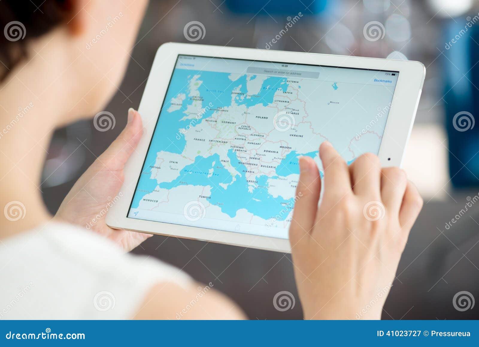 在苹果计算机iPad空气的Google Maps