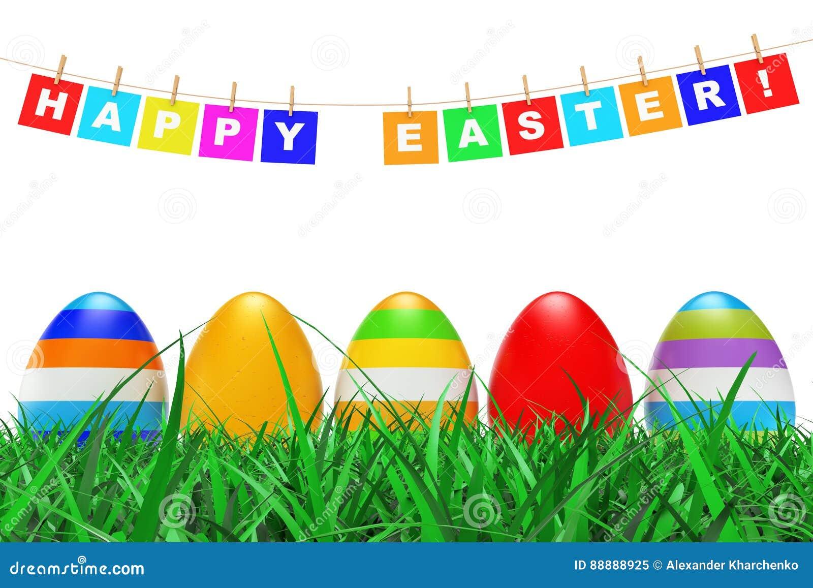在草的复活节彩蛋在复活节快乐下签署垂悬在绳索 3d