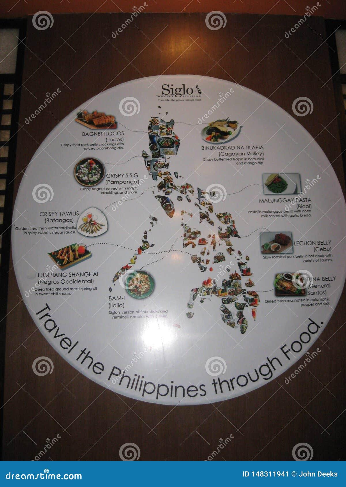 在菲律宾食物的信息海报在大雅台市,菲律宾
