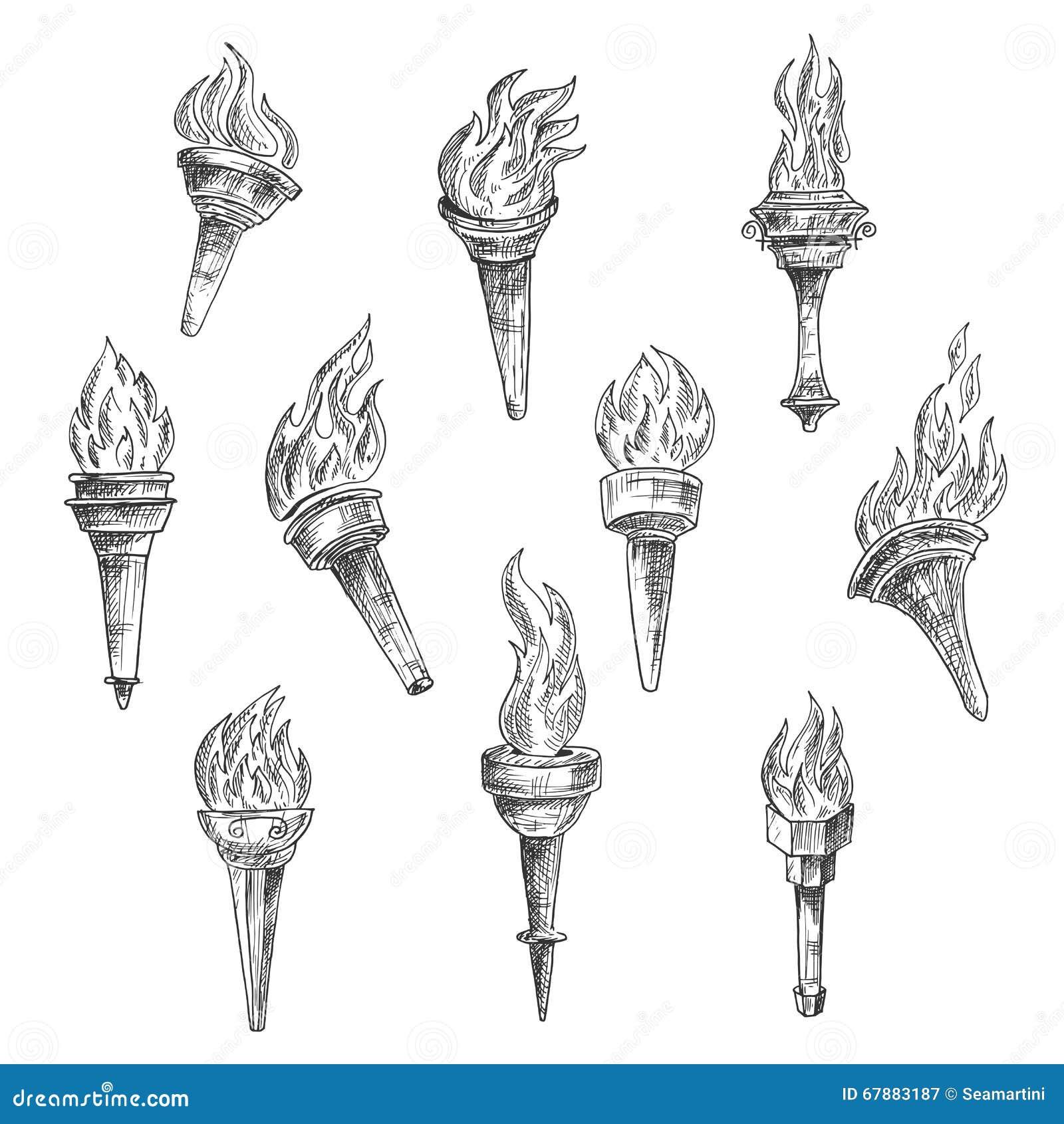 在葡萄酒剪影样式的灼烧的火炬