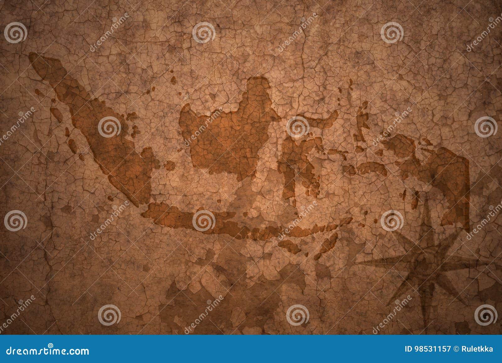 在葡萄酒纸背景的印度尼西亚地图