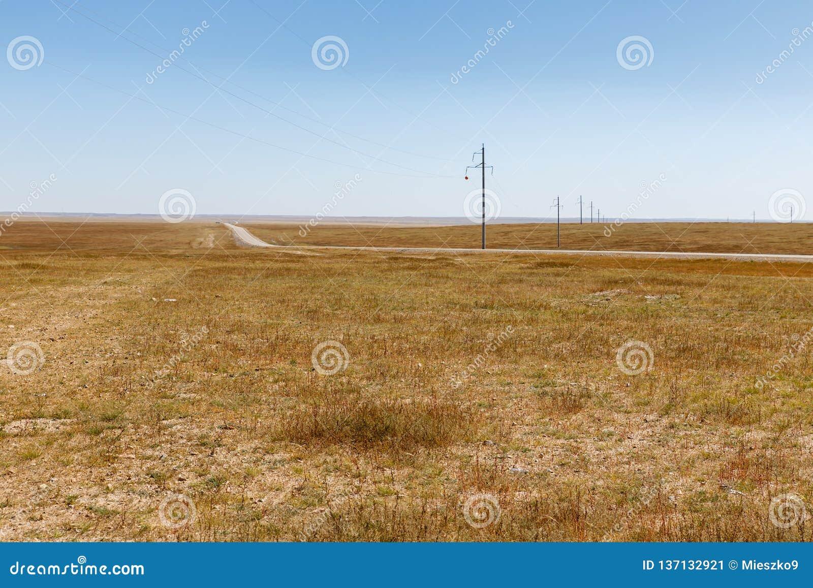 在蒙古干草原的高压输电线,美好的风景,蒙古