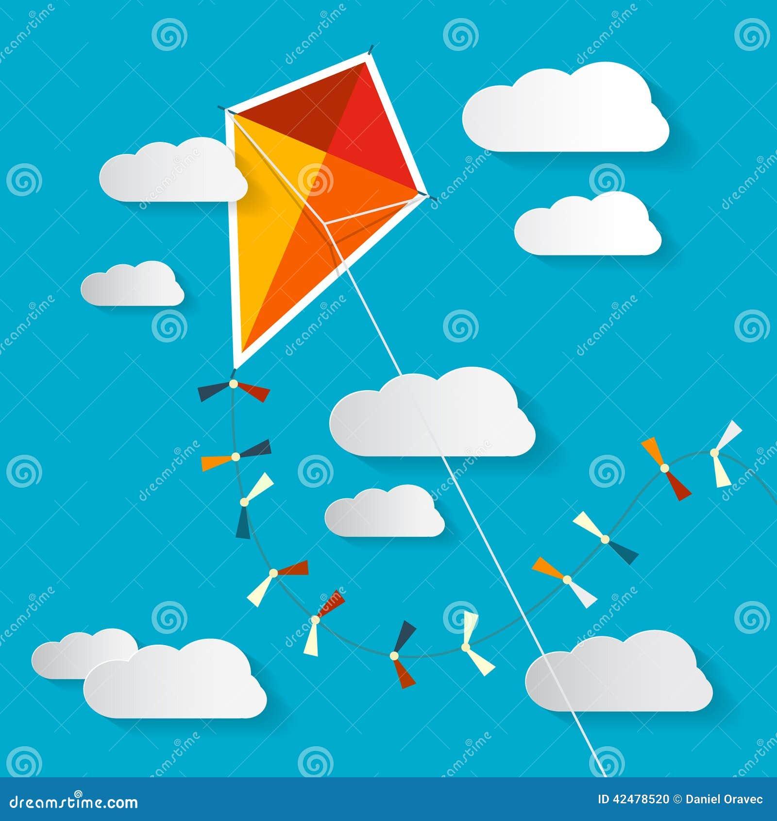 在蓝天的传染媒介纸风筝