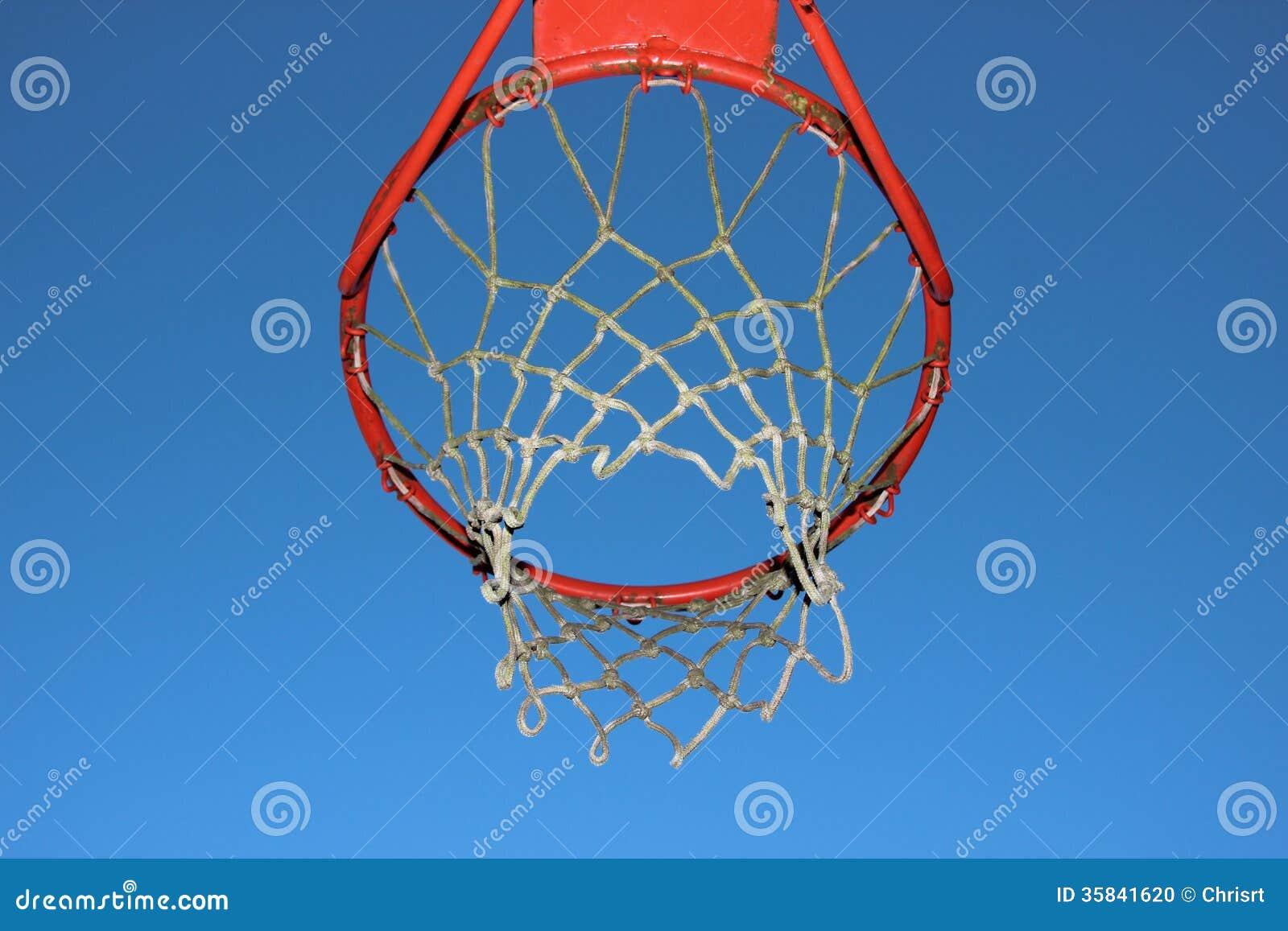 在蓝天背景的被隔绝的篮球网