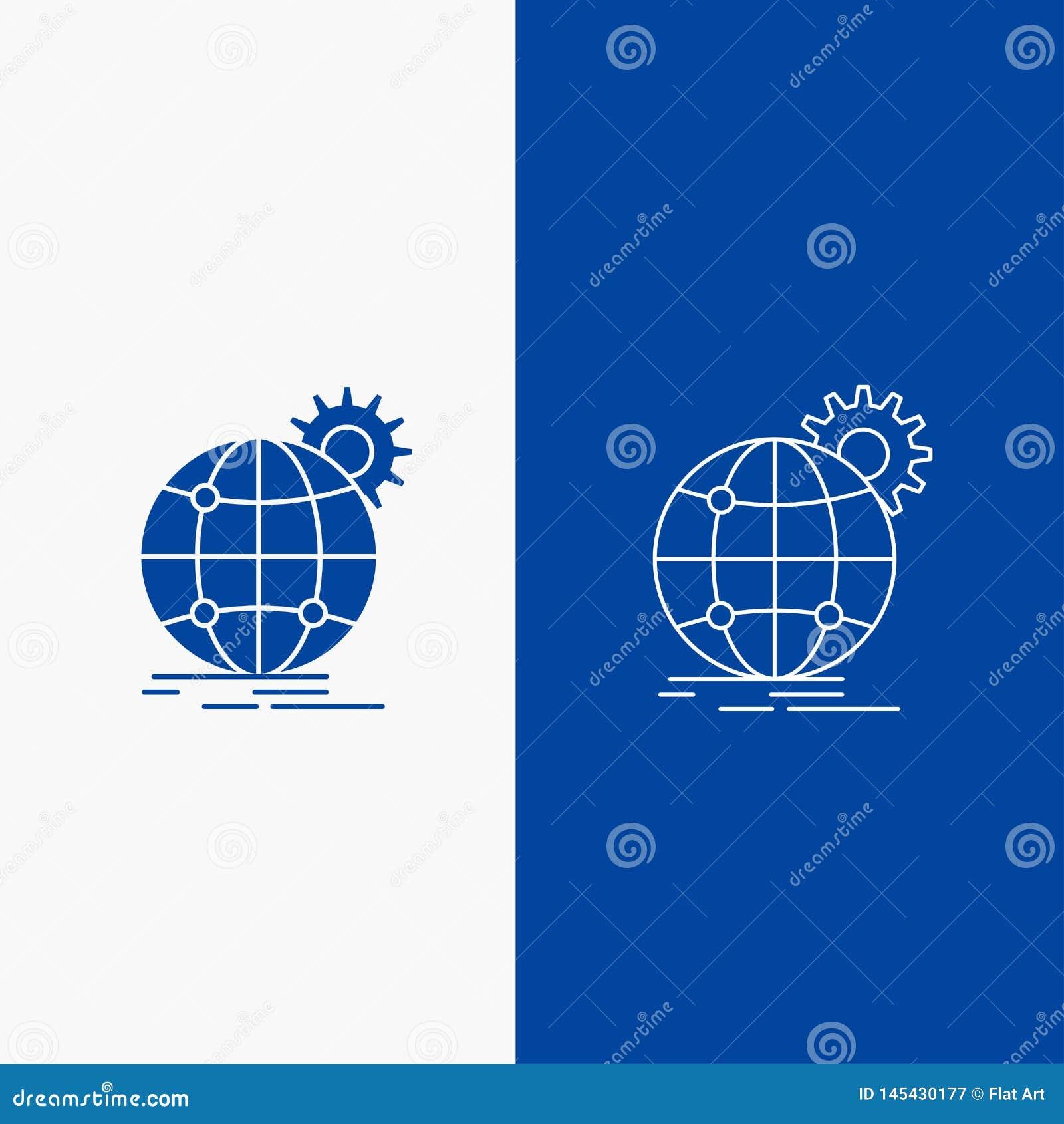 在蓝色垂直的横幅的国际,企业,地球,全世界,齿轮线和纵的沟纹网按钮UI和UX的,网站或