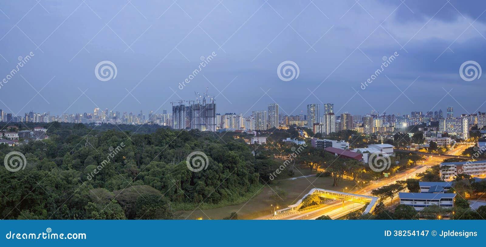 在蓝色小时的新加坡都市风景