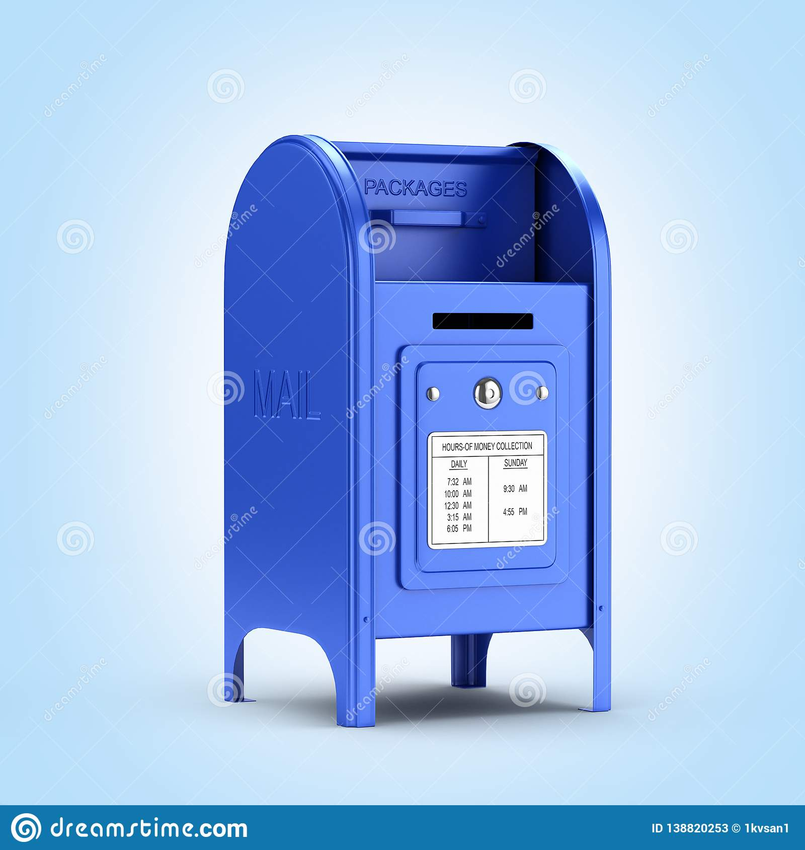 在蓝色梯度背景3d的深蓝邮箱