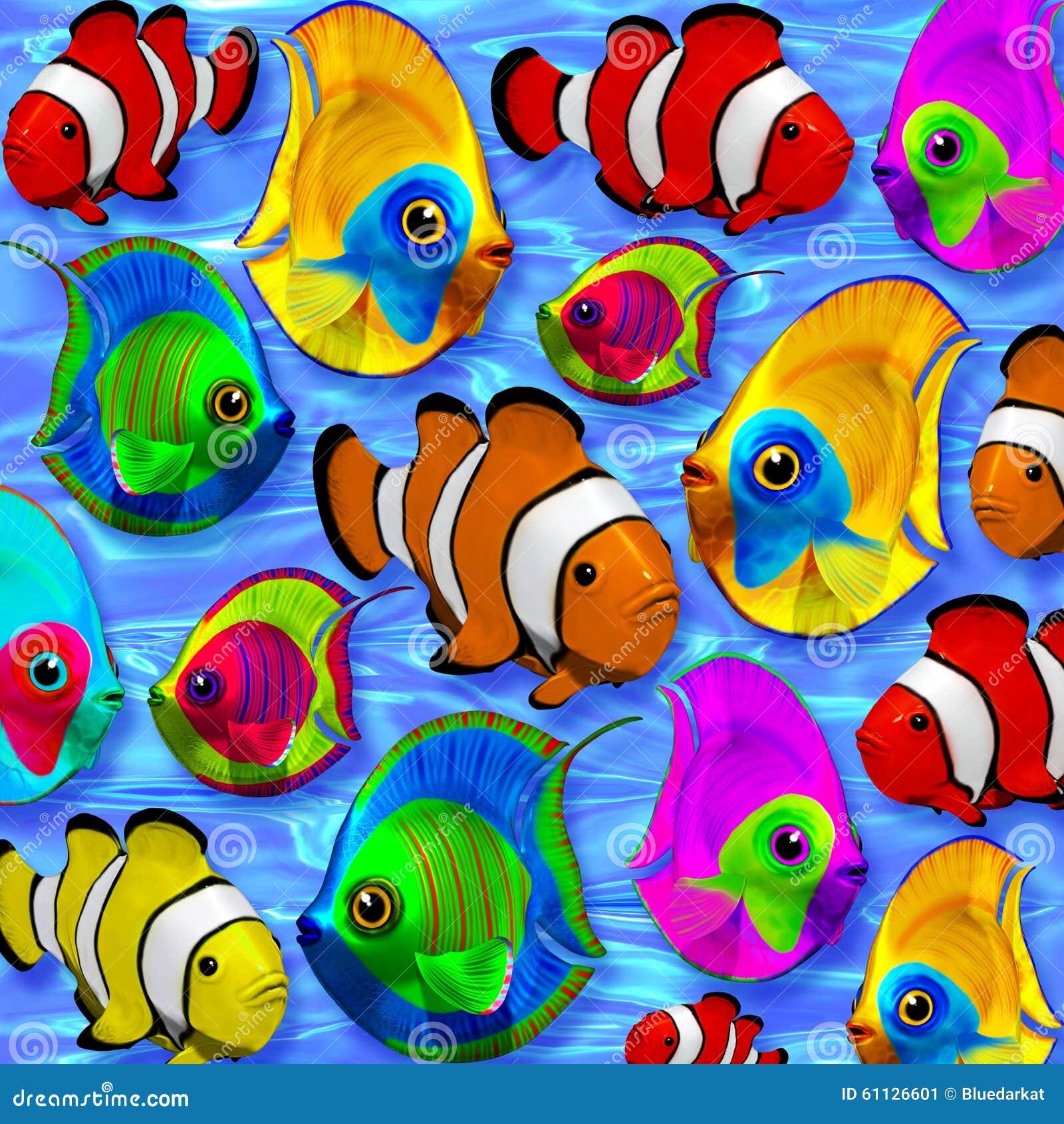 在蓝色清楚的水的热带鱼3d图片