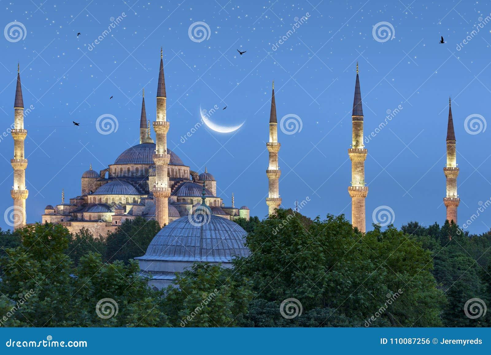 在蓝色清真寺的美丽的新月形月亮在伊斯坦布尔,土耳其