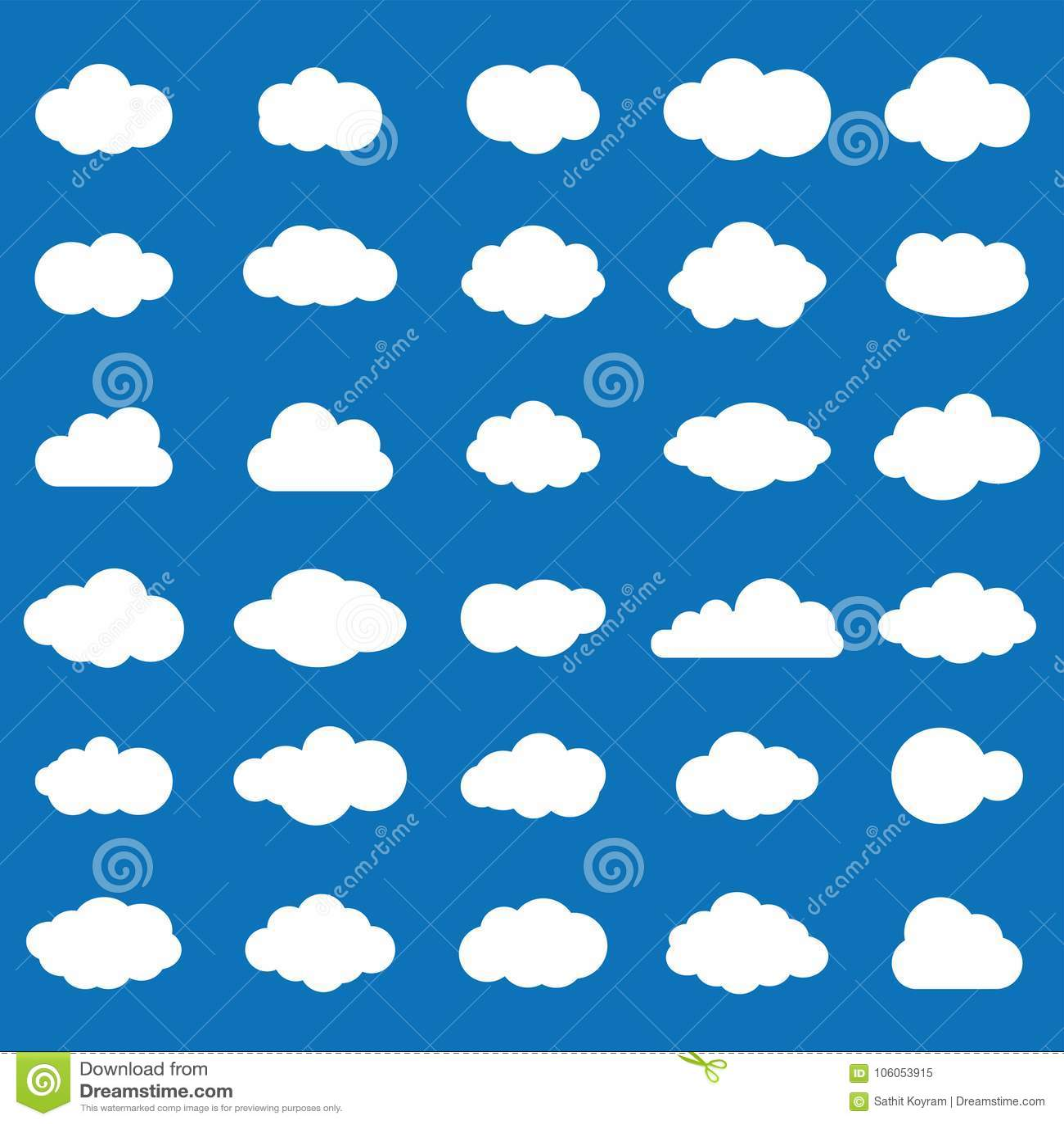在蓝色背景的云彩象集合白色颜色 天空平的i