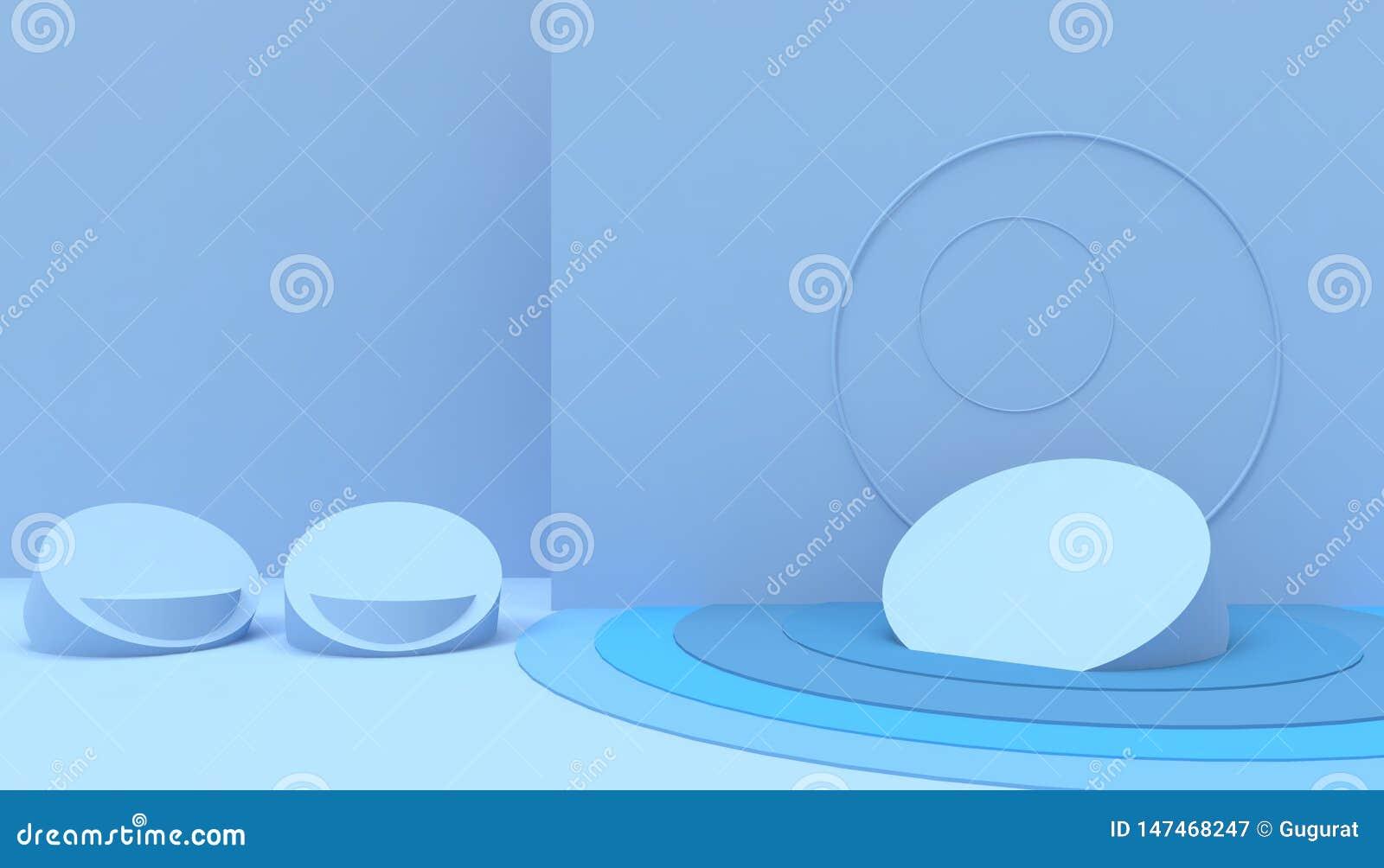 在蓝色背景的指挥台几何形状最小和现代概念艺术淡色蓝色墙壁场面
