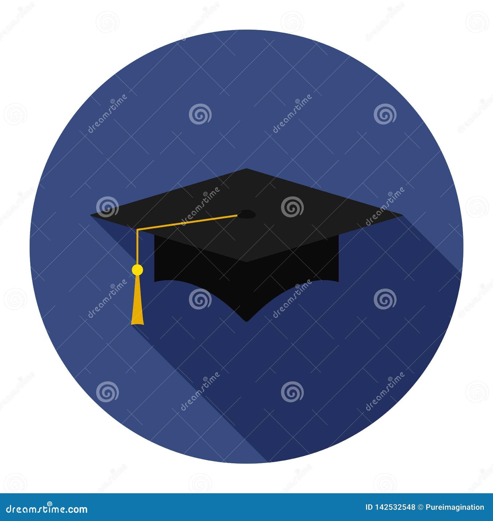 在蓝色背景的毕业盖帽平的象