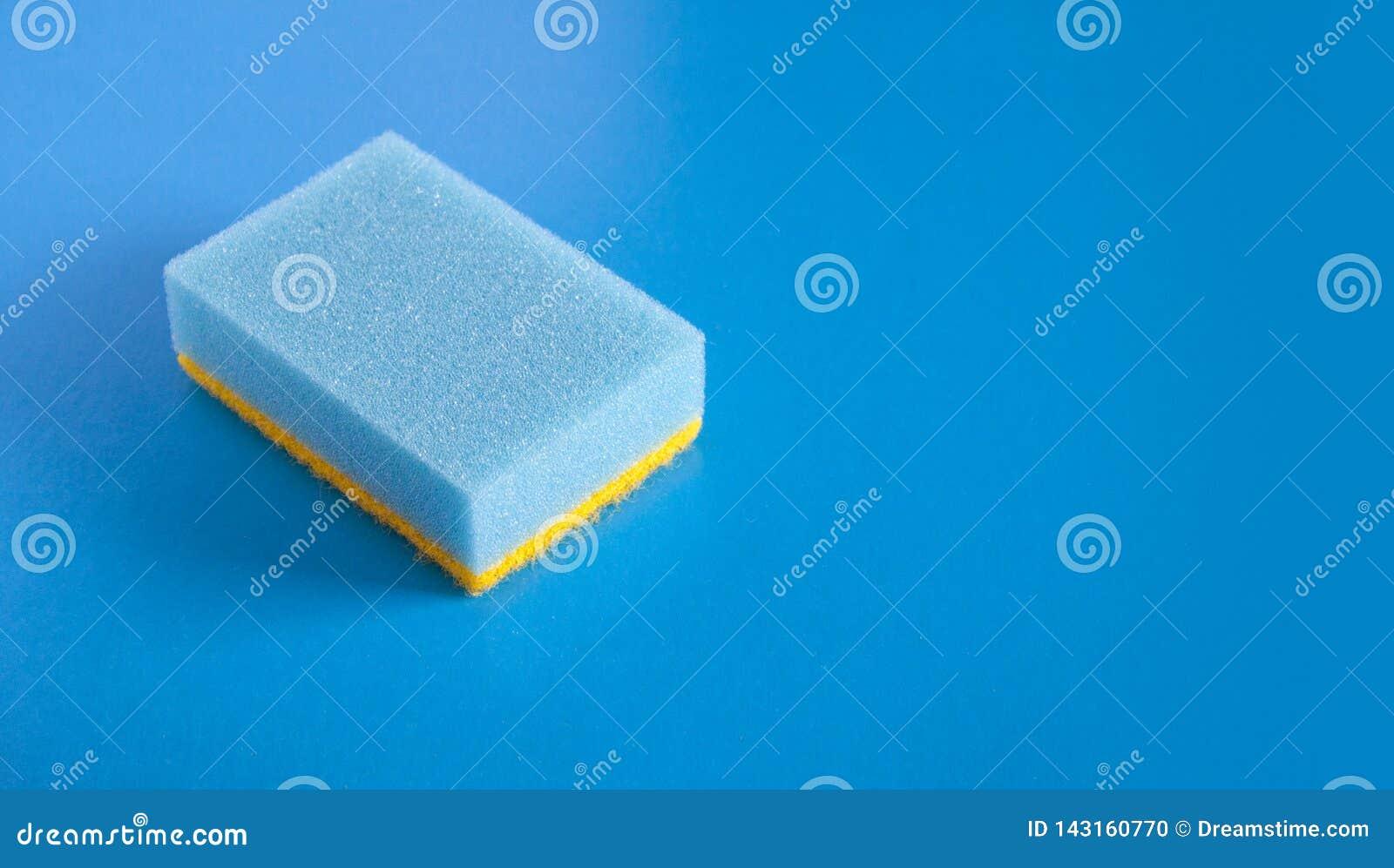 在蓝色背景的蓝色海绵