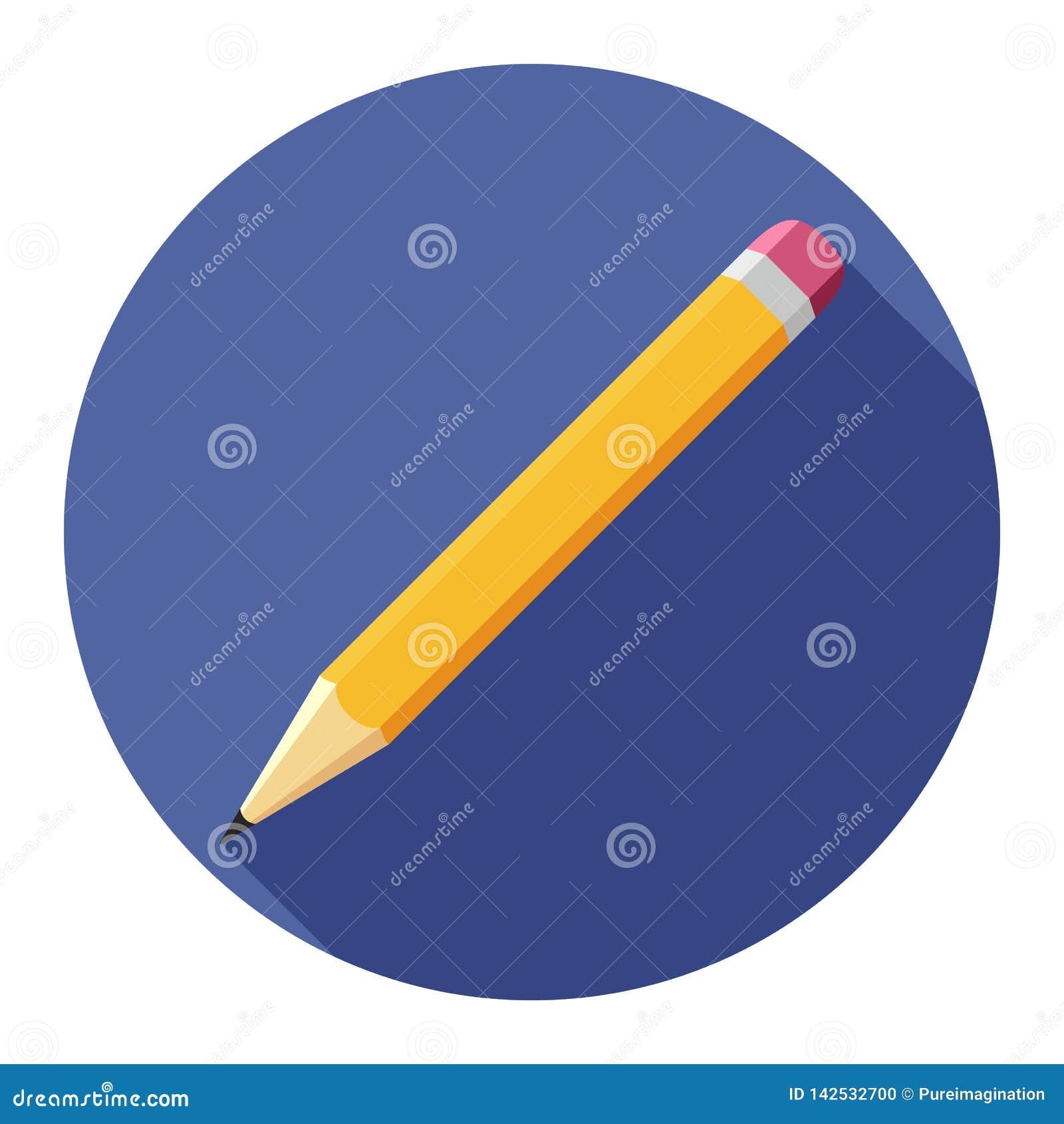 在蓝色背景的铅笔平的象任何场合的