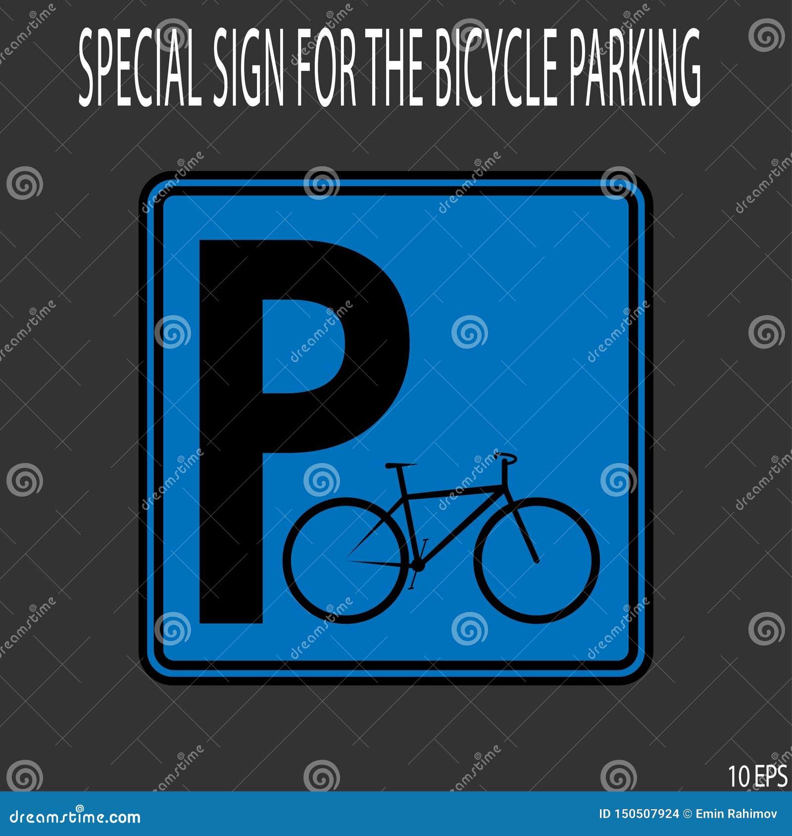 在蓝色背景的黑稀薄的线象roadsign 标志自行车停车处-传染媒介例证