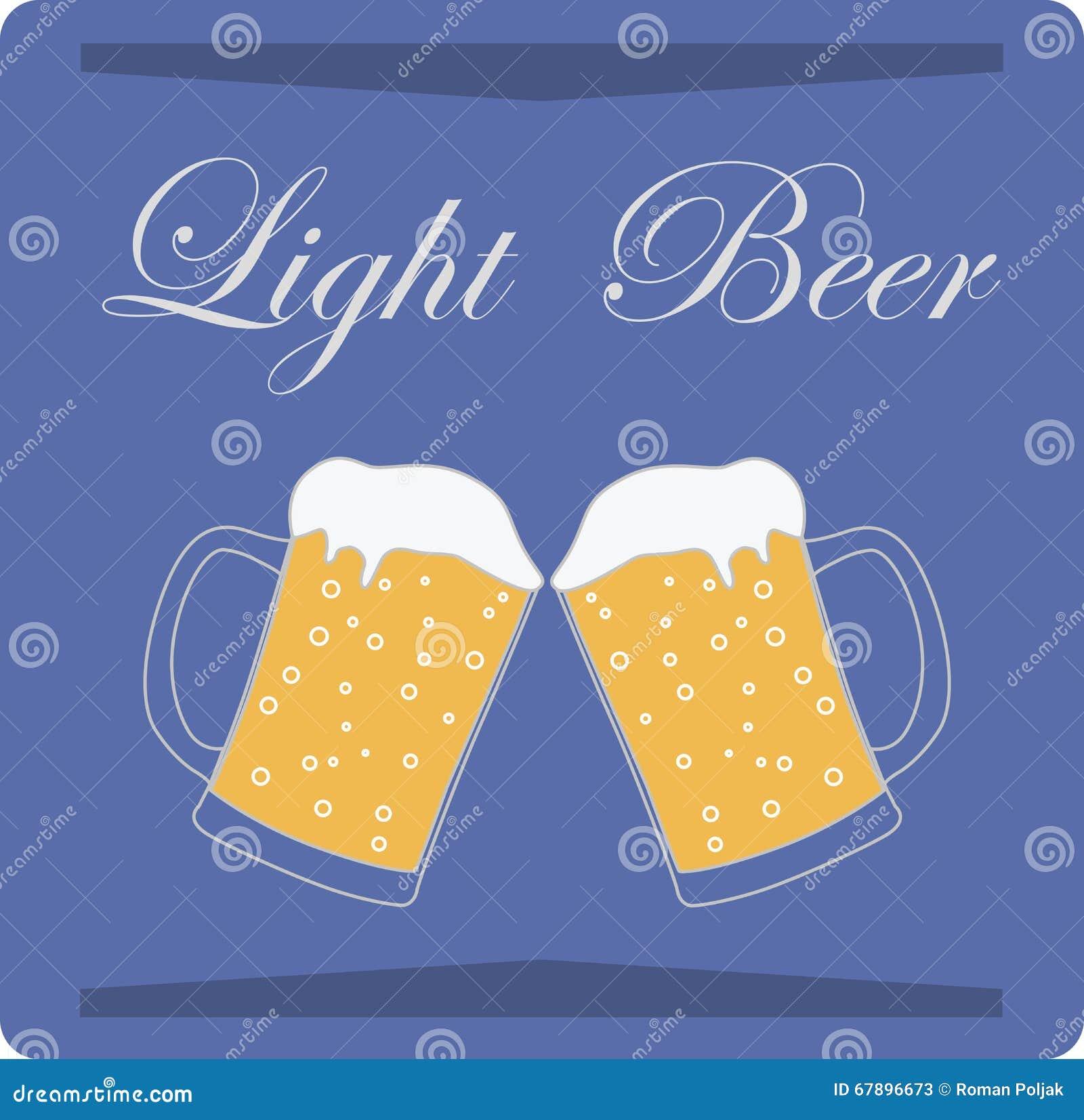 在蓝色背景,传染媒介,例证的低度黄啤酒