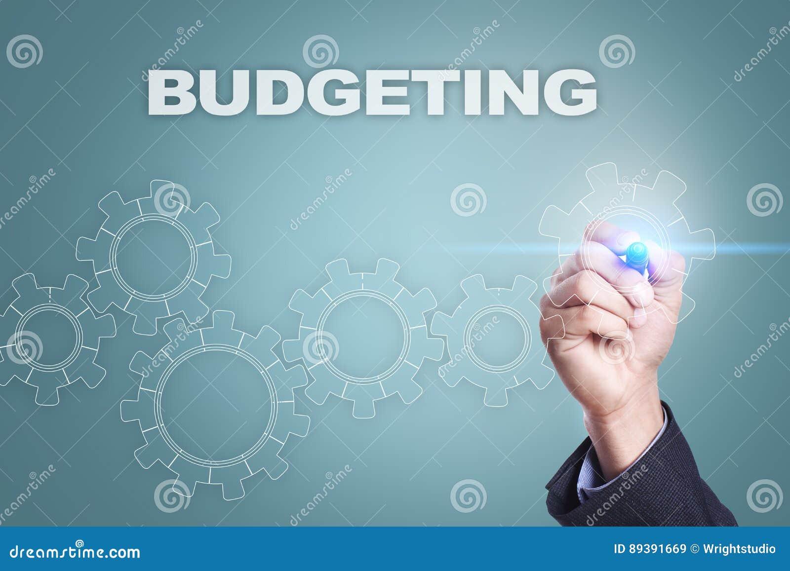 在虚屏上的商人图画 预算的概念