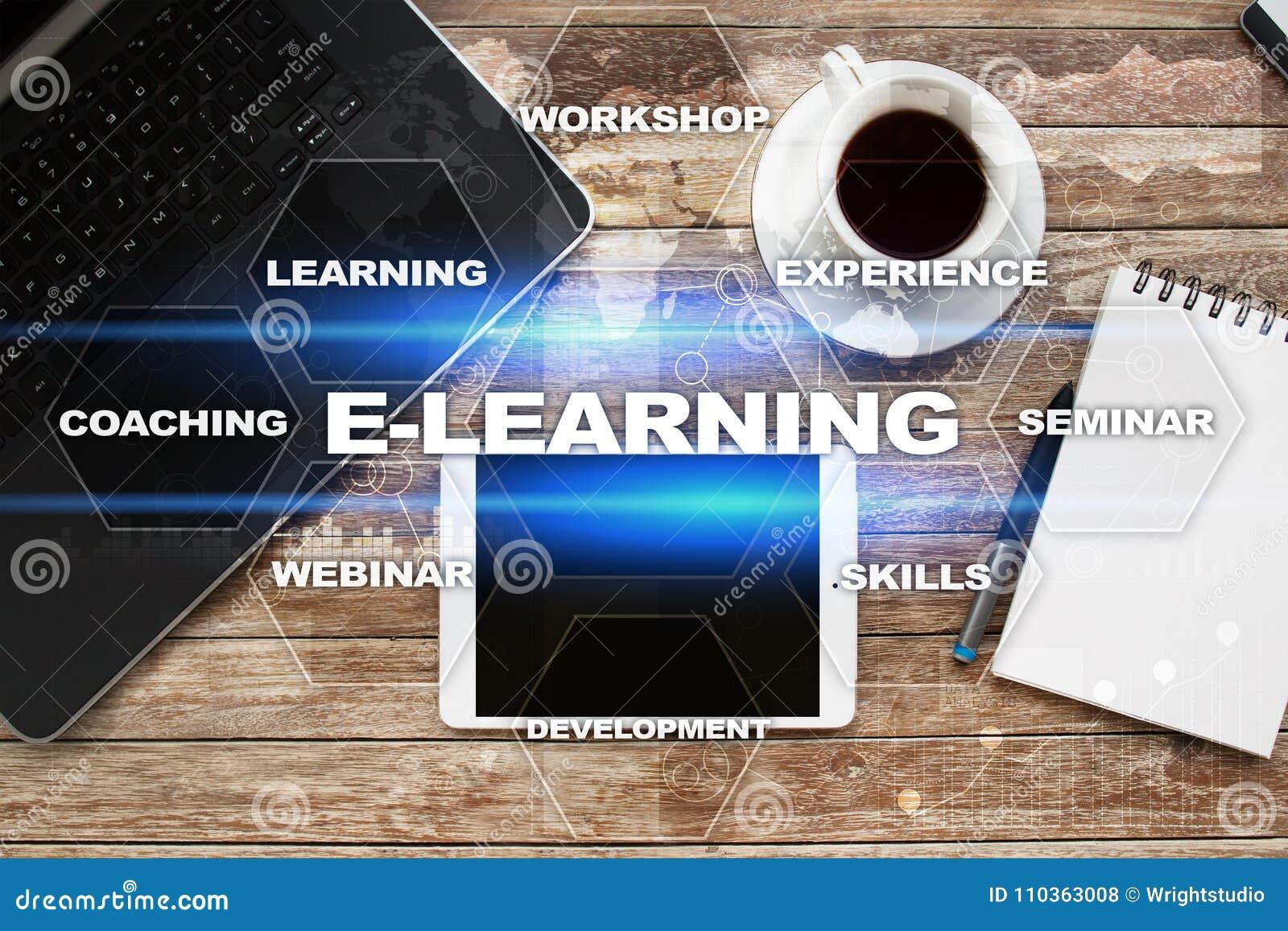 在虚屏上的电子教学 概念教育互联网关键董事会了解字