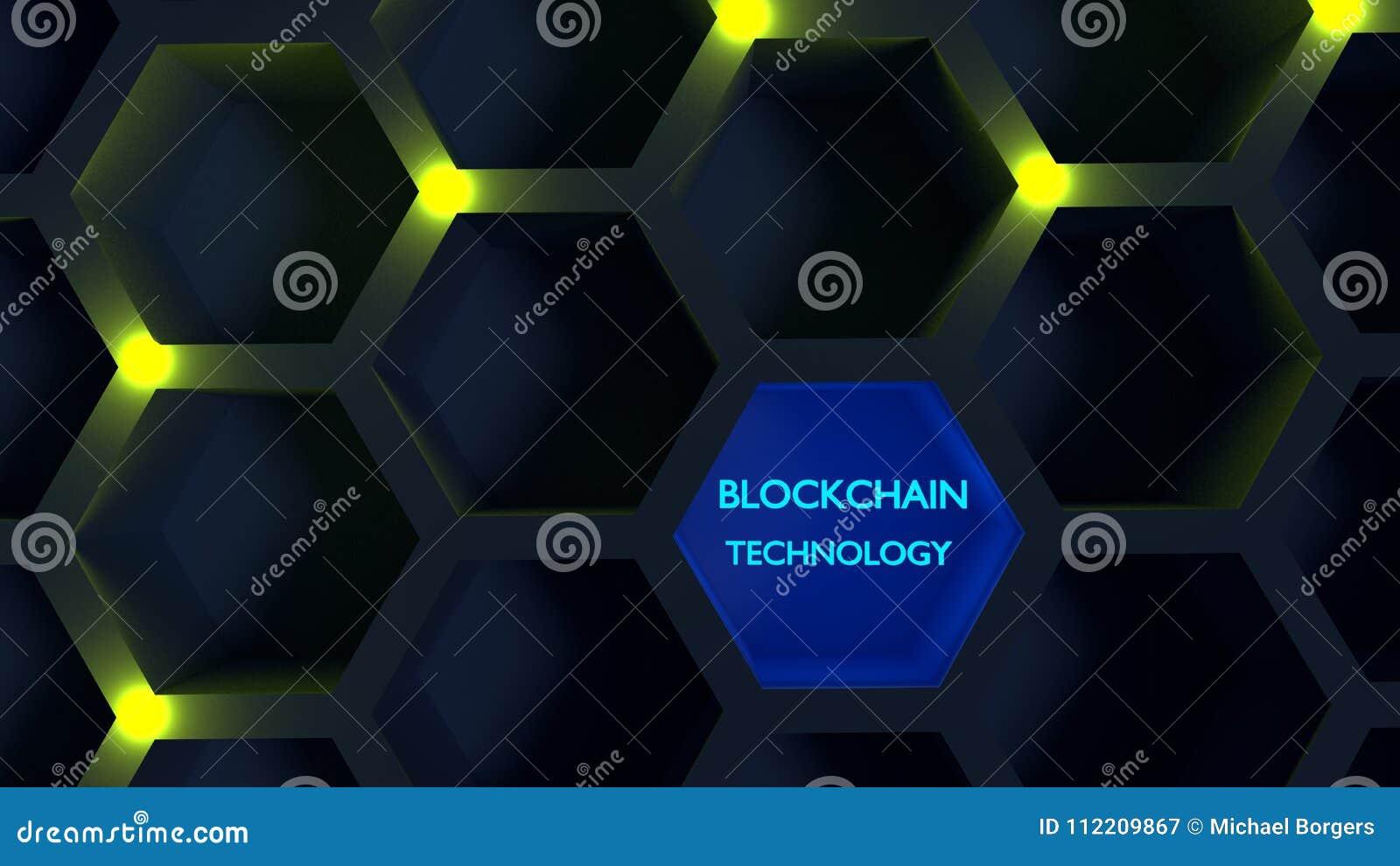 在蜂窝结构blockchain概念的发光的黄色结