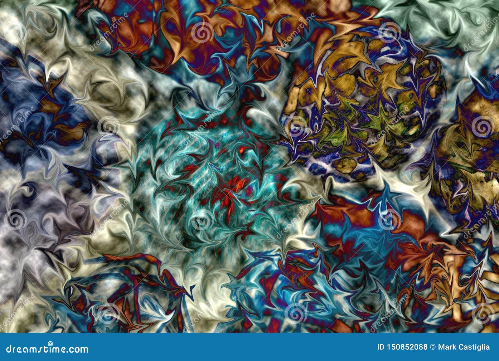 在行动构成的充满活力的颜色 抽象,打旋,蓝色,绿色,桃红色,铁锈背景