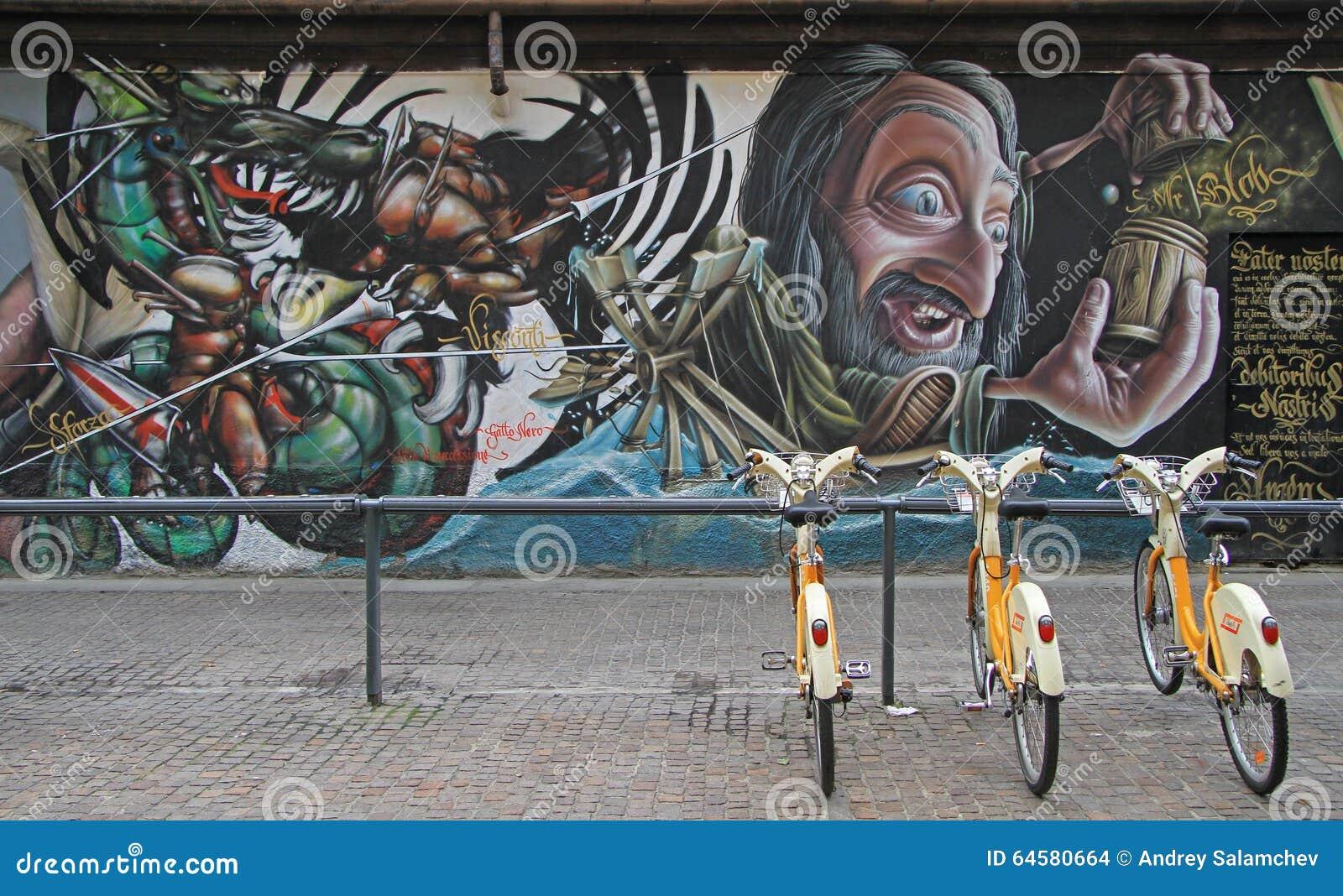 在街道上的街道画在米兰
