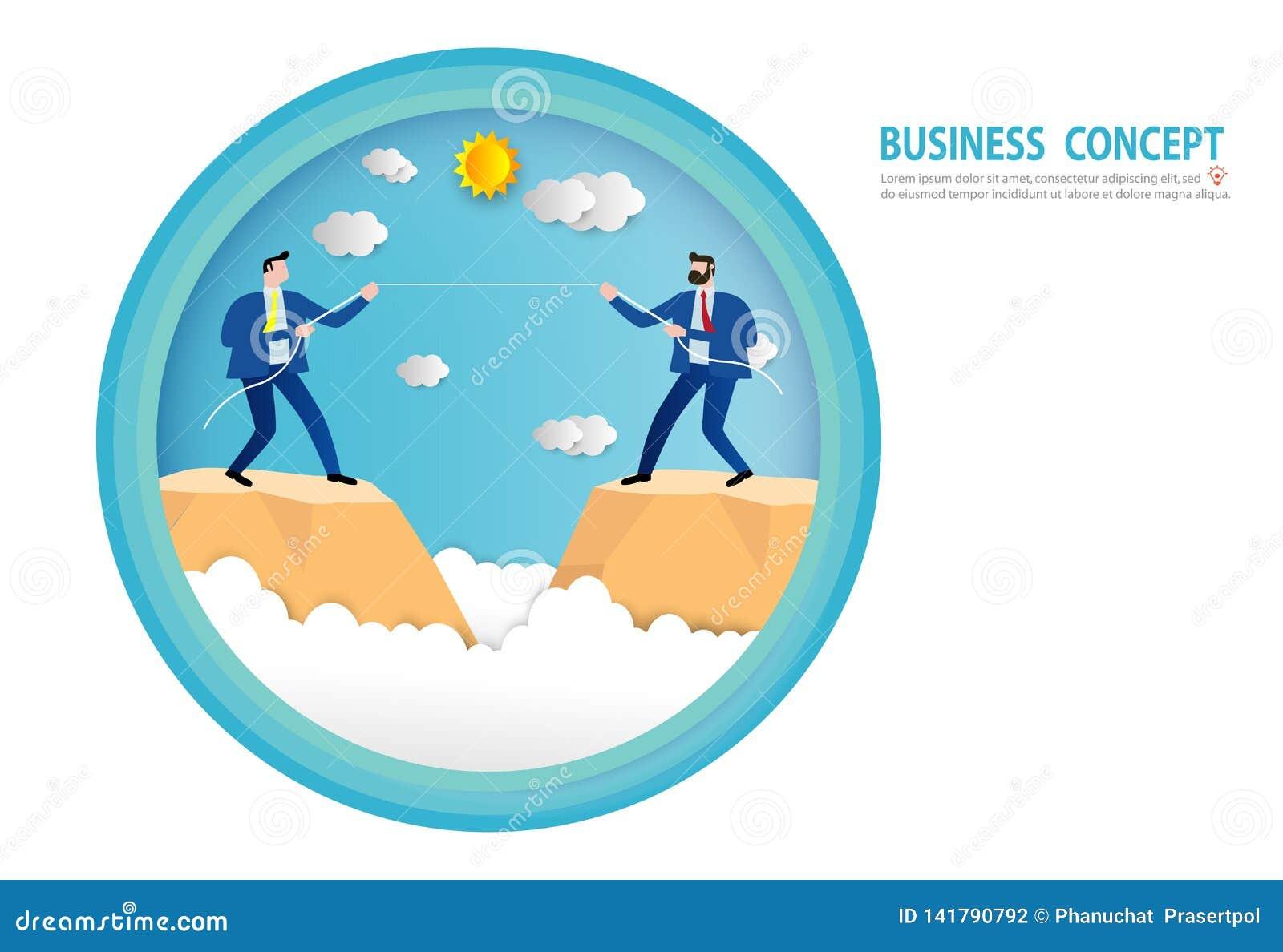 在衣服牵索的商人在峭壁边缘  竞争冲突竞争,目标,成功,纸艺术样式,人事务