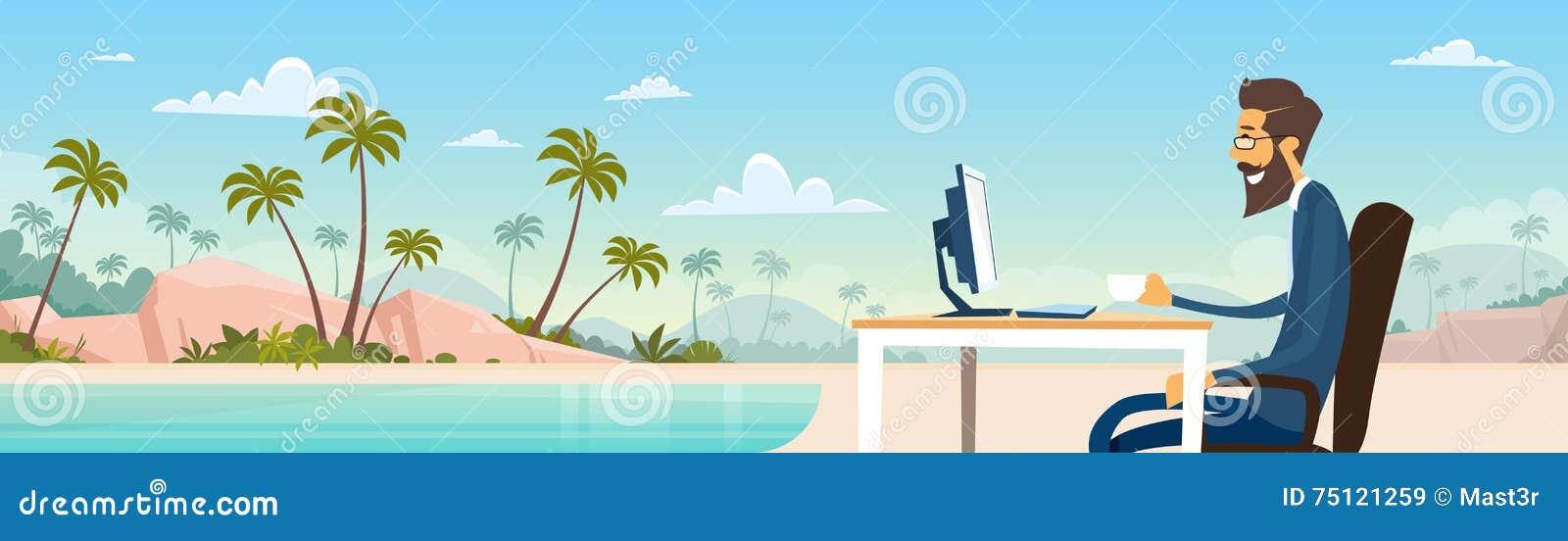 在衣服的商人自由职业者的远程工作地方商人坐桌面海滩暑假热带海岛