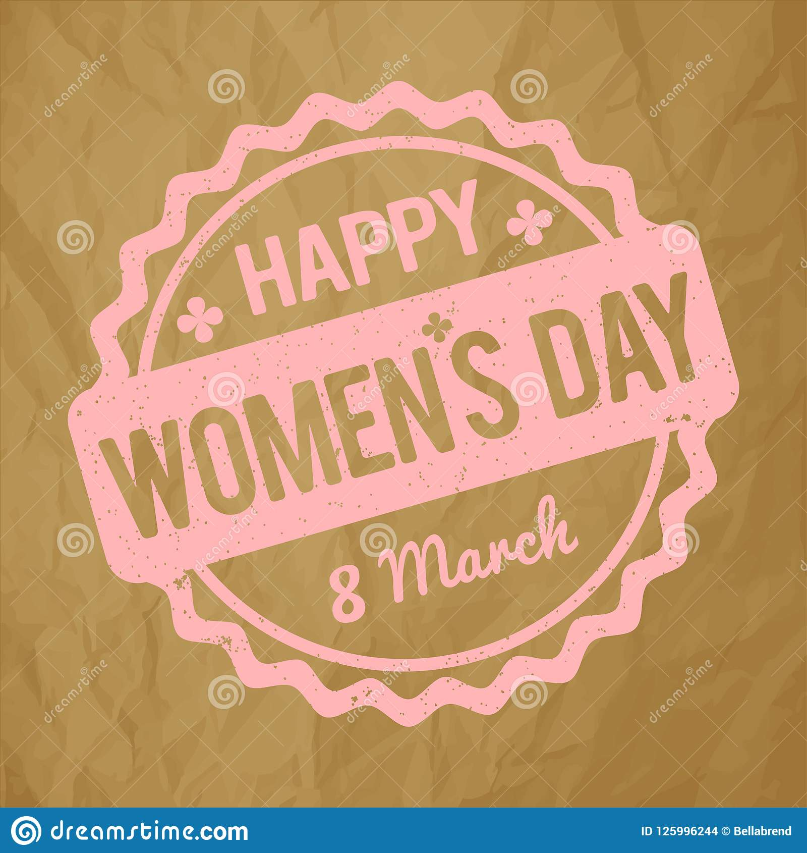 在被弄皱的纸棕色背景的愉快的妇女` s天不加考虑表赞同的人浅粉红色