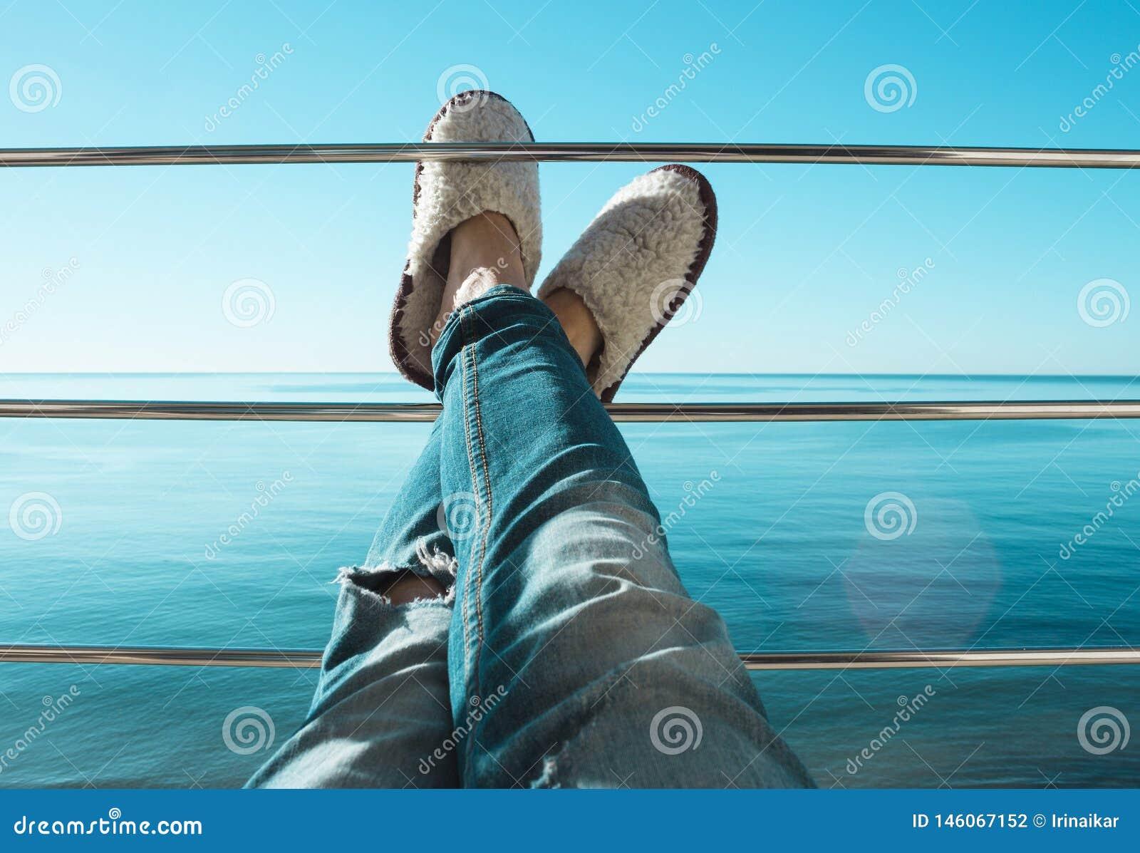 在被撕毁的牛仔裤和白羊说谎在阳台的标志横线的毛皮拖鞋的妇女的腿