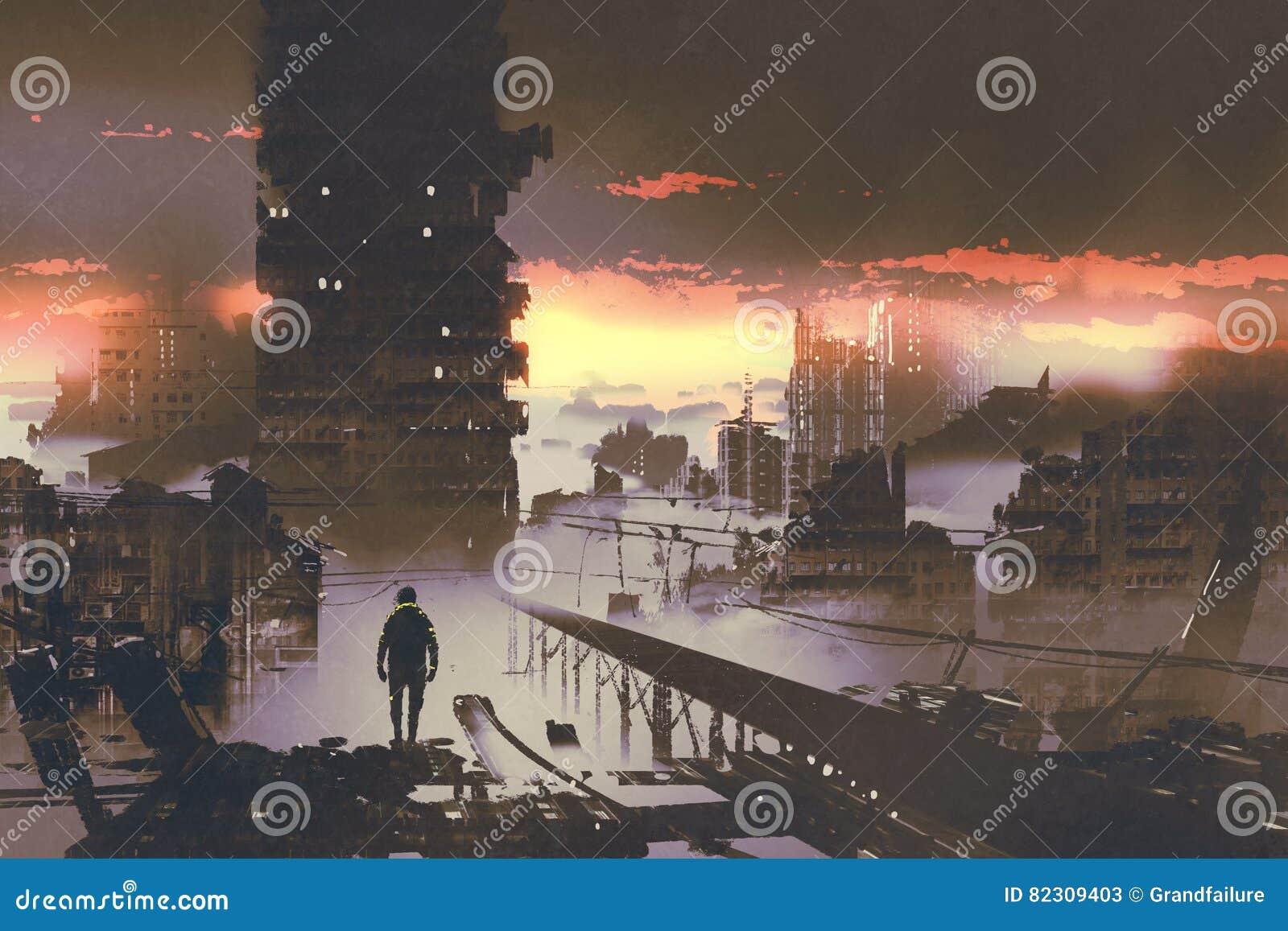 在被放弃的城市供以人员身分,科学幻想小说概念