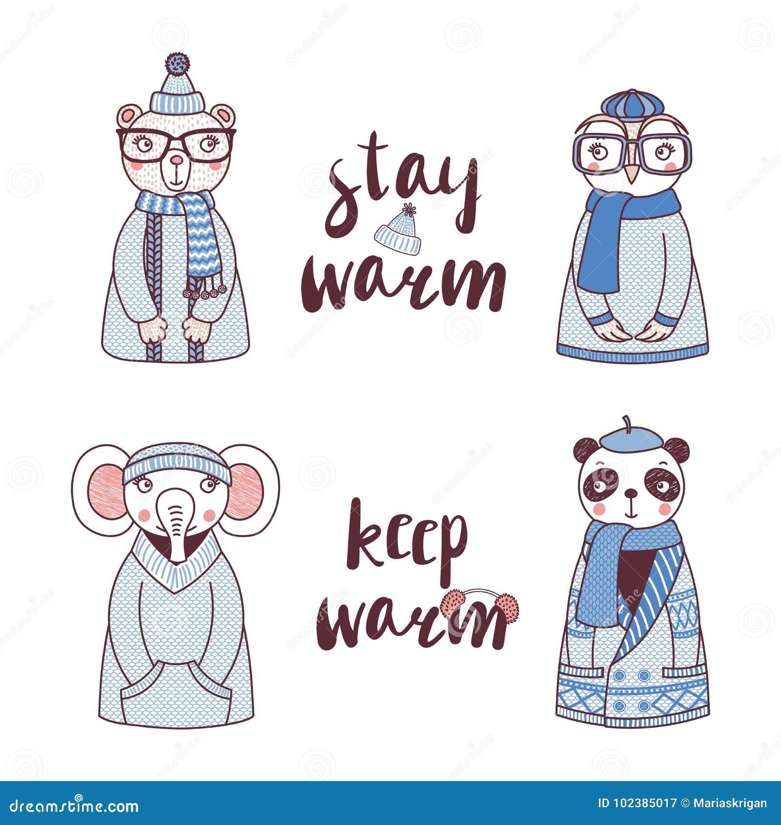 在被编织的帽子和毛线衣的逗人喜爱的滑稽的动物