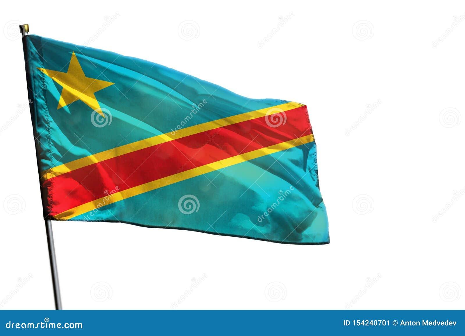 在被隔绝的清楚的白色背景的振翼的刚果民主共和国旗子