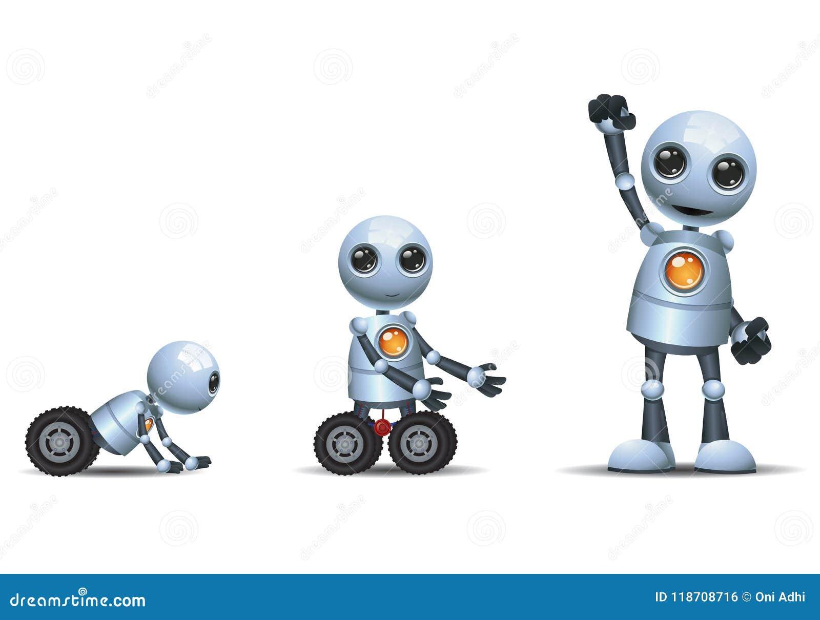 在被隔绝的白色背景的一点机器人演变阶段