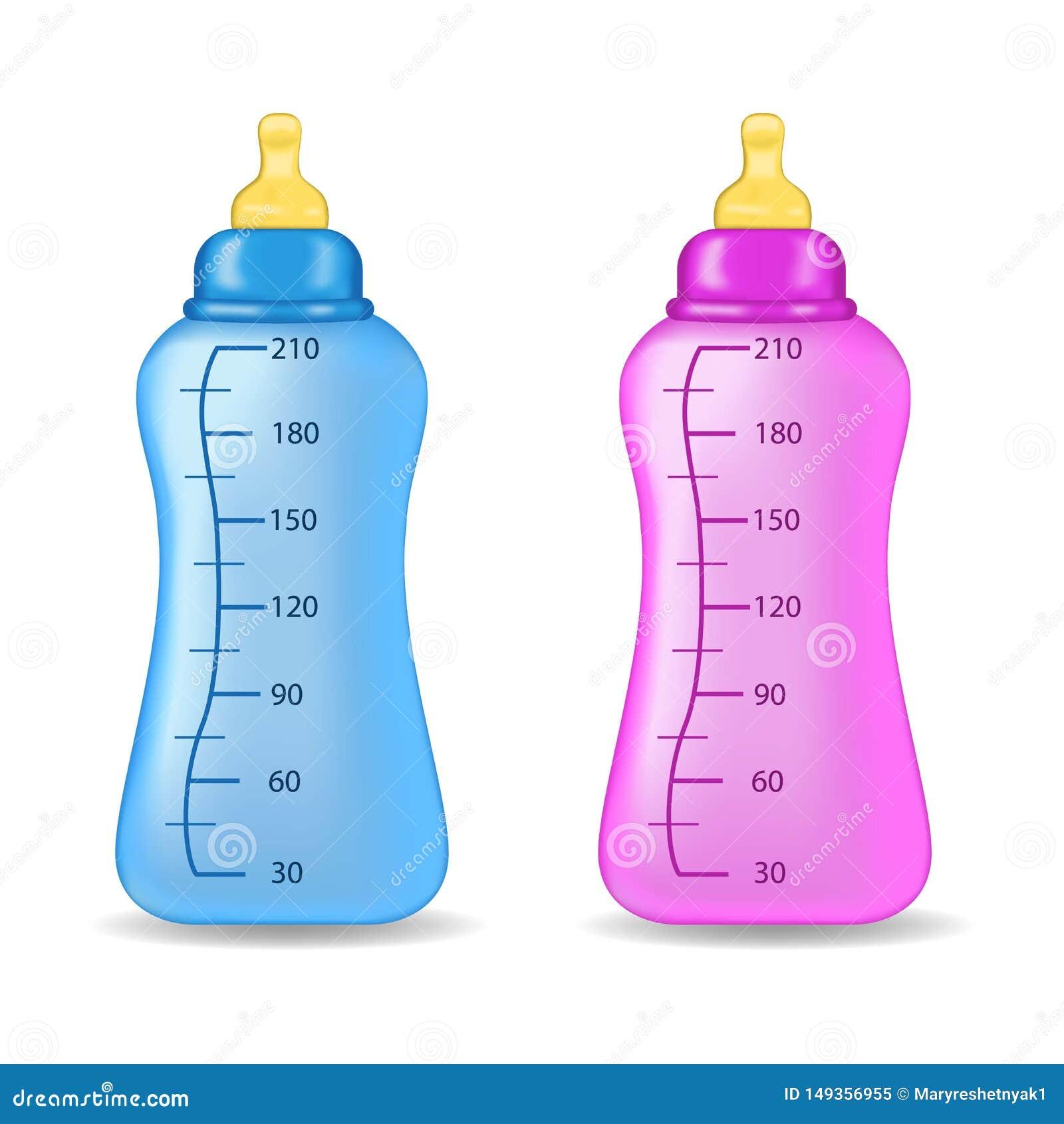 在被隔绝的背景的蓝色和桃红色瓶 儿童bottels r