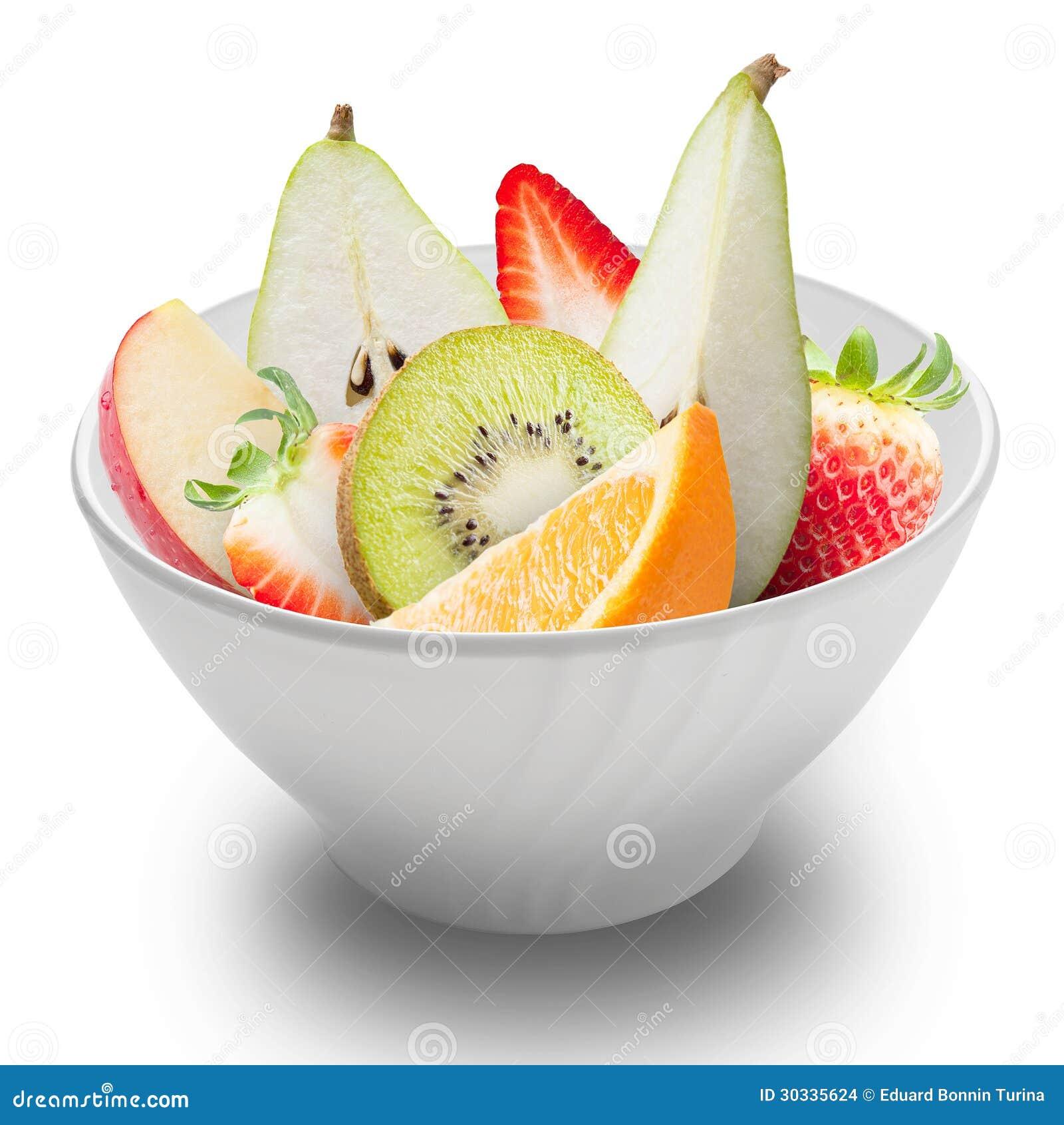 在被隔绝的一个白色碗的新鲜水果