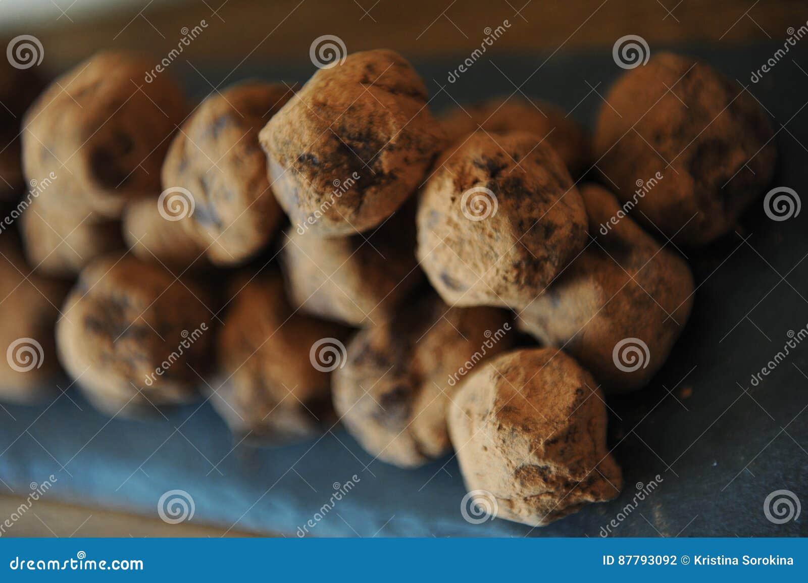 在被洒的可可粉的块菌状巧克力 在木背景的板岩板 特写镜头,纹理