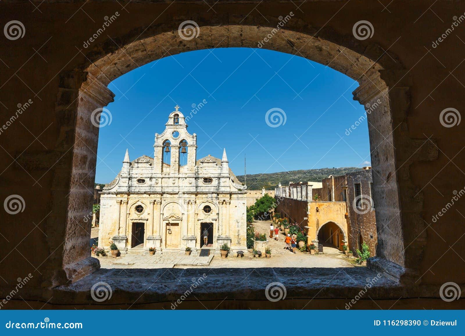 在西方门的通道在Arkadi修道院, Arkadi,克利特,希腊