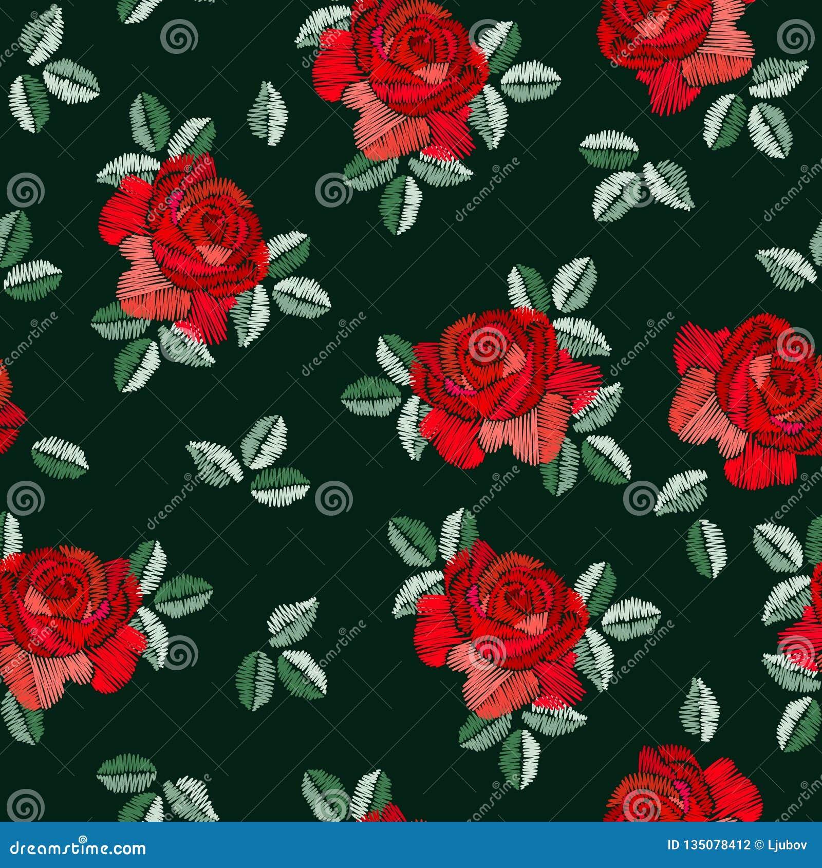 在西班牙样式的刺绣无缝的样式与在黑背景的红色玫瑰色花 时尚设计 曼顿披肩