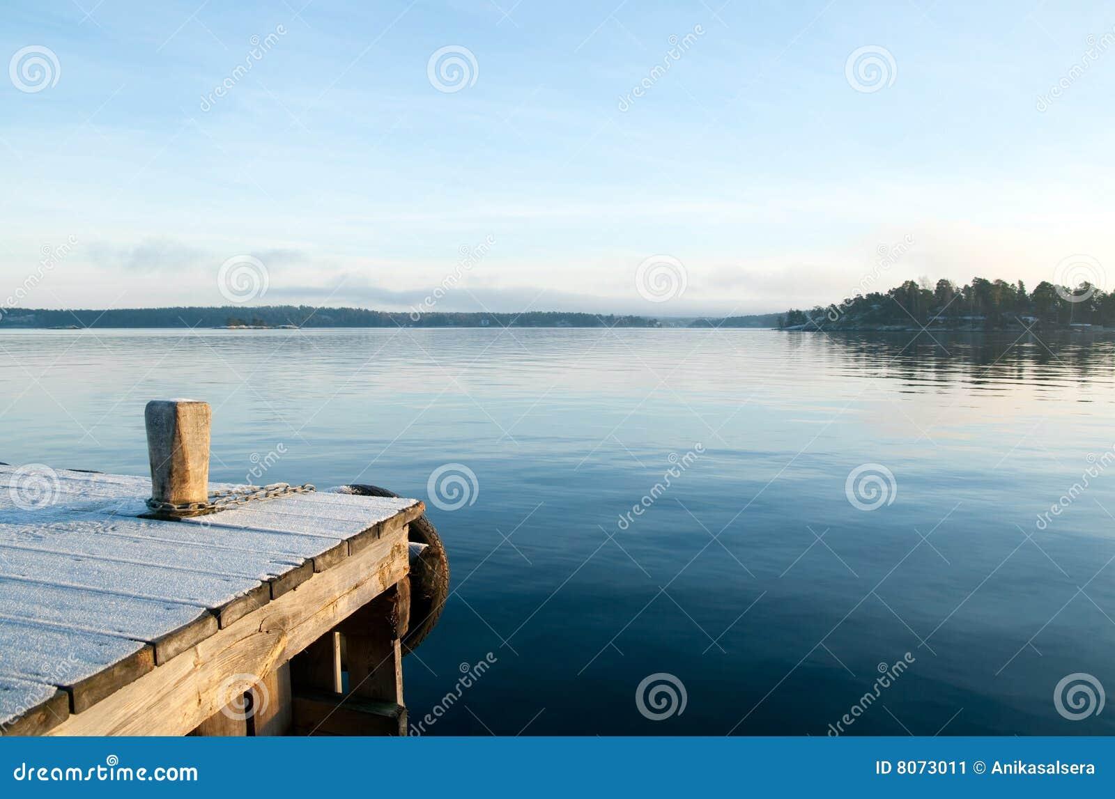 在视图的镇静湖