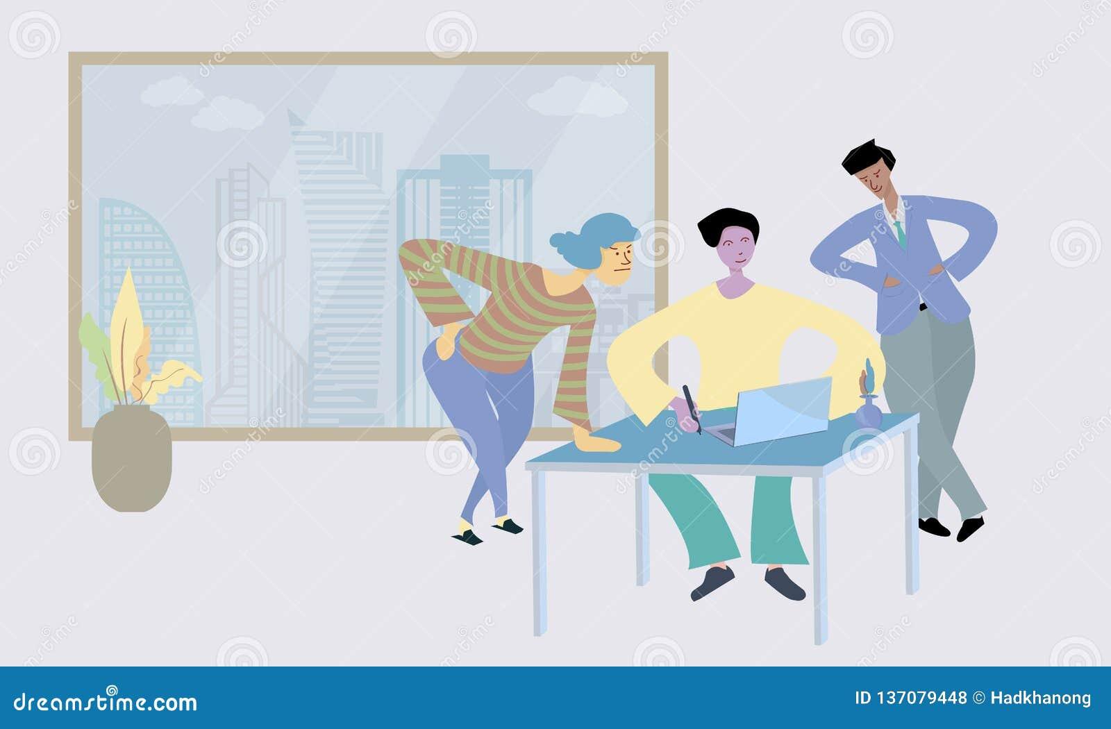 在计算机的人谈话和讨论在露天场所办公室