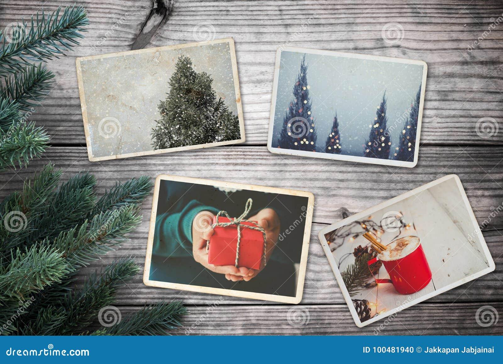 在记忆的象册和乡情在圣诞节冬天在木桌上晒干