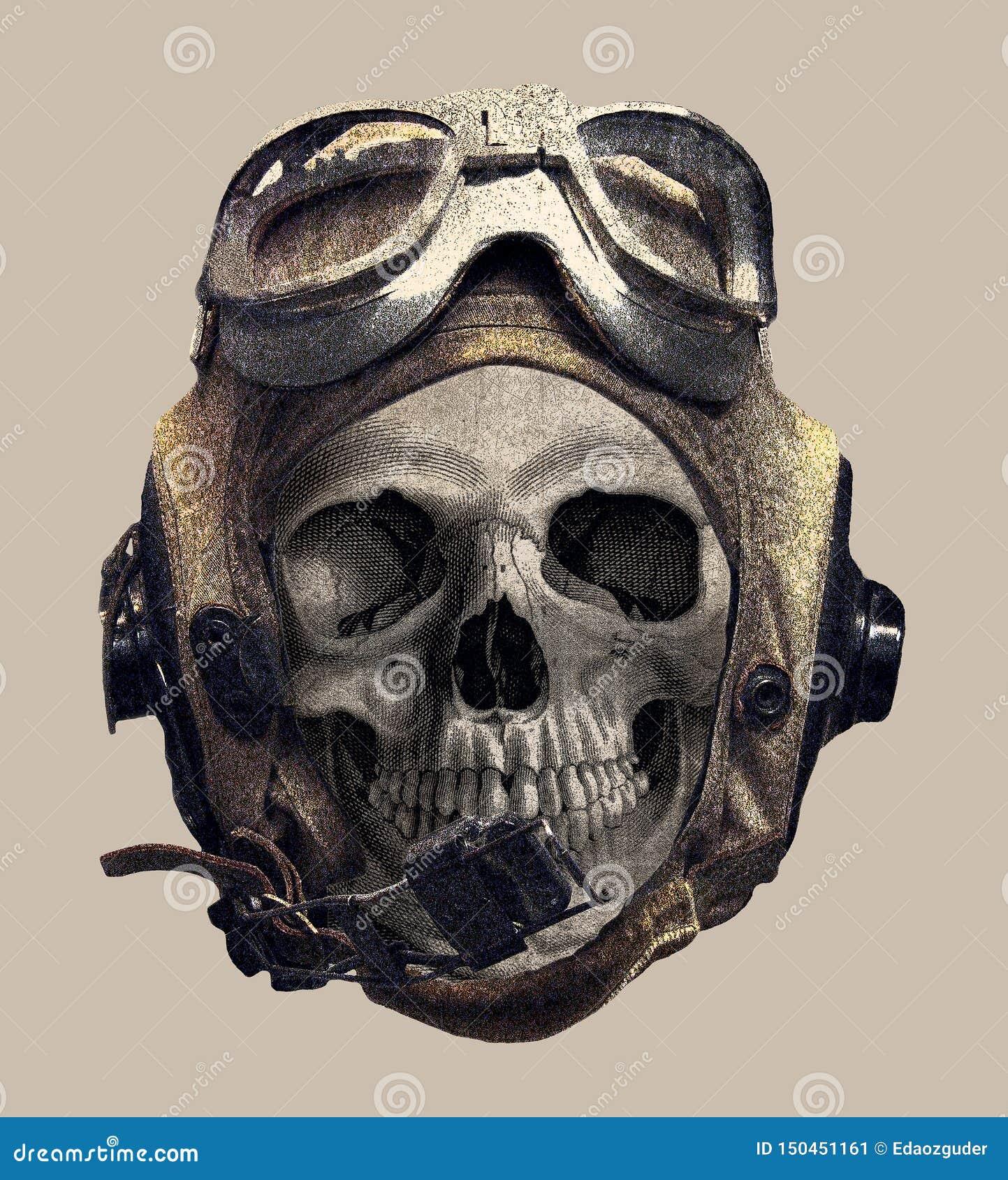 在试验盔甲的头骨 T恤杉印刷品