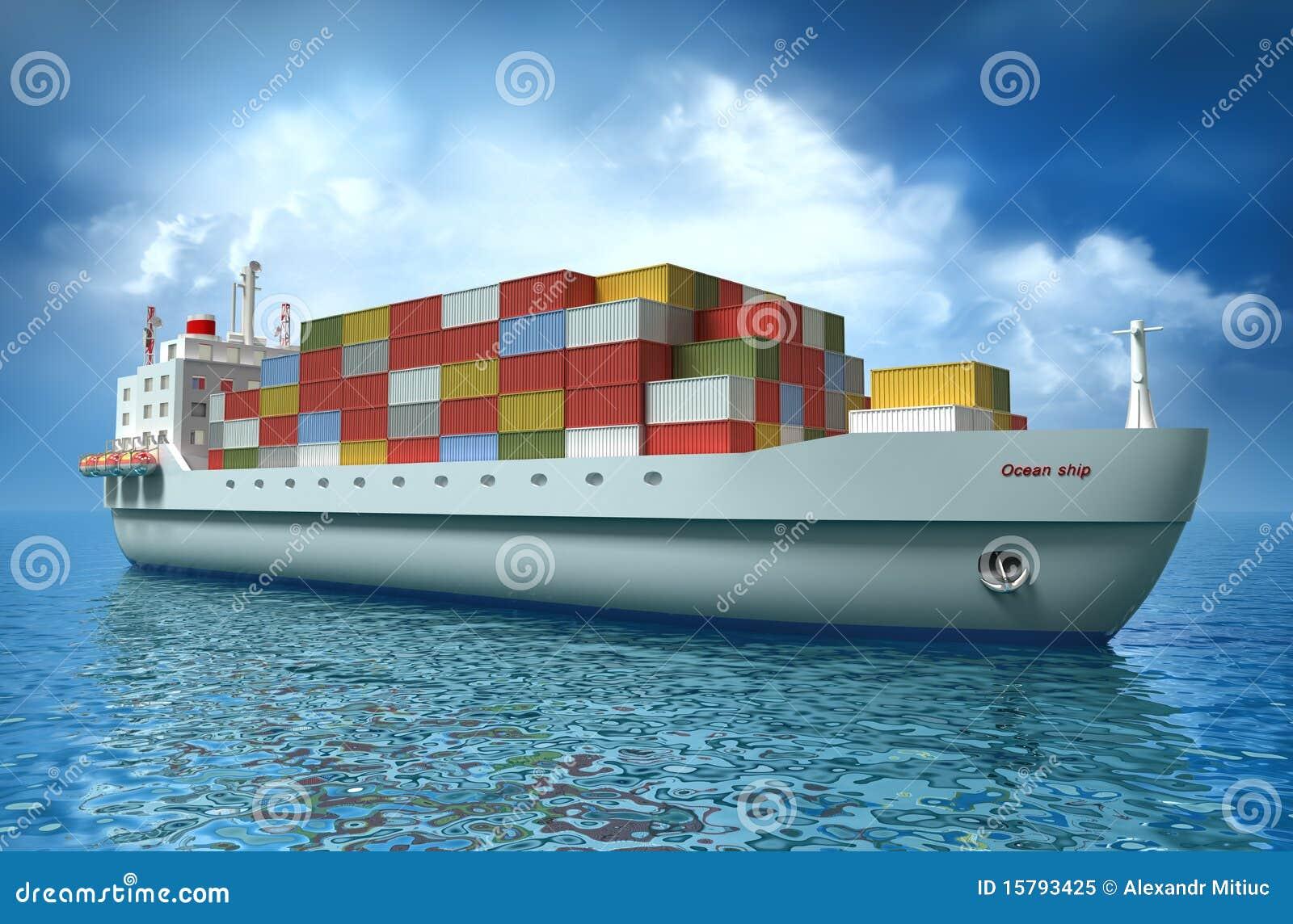 在货物海洋风帆船间